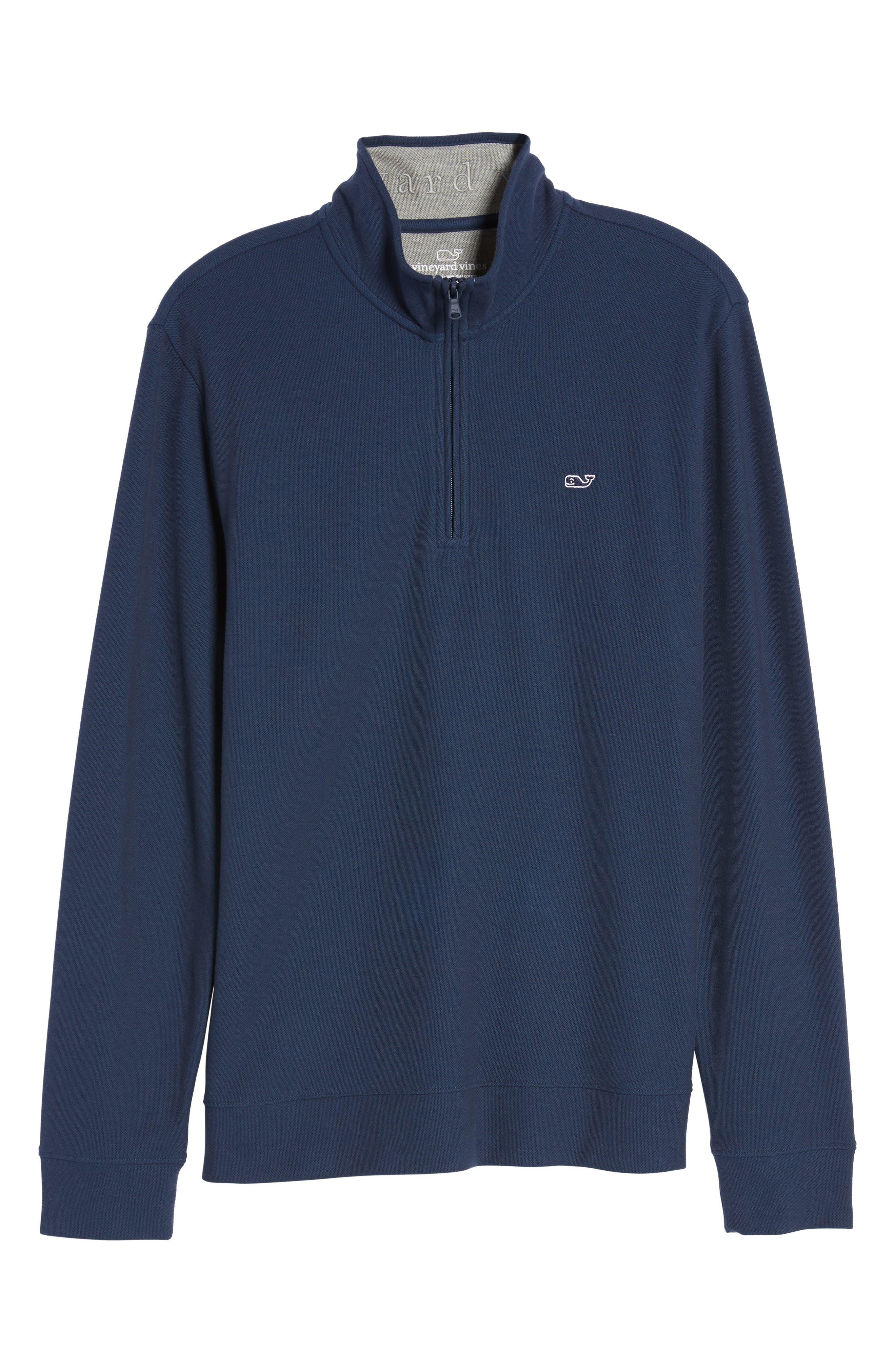 Reverse Oxford Quarter Zip Pullover,                             Alternate thumbnail 6, color,                             Vineyard Navy
