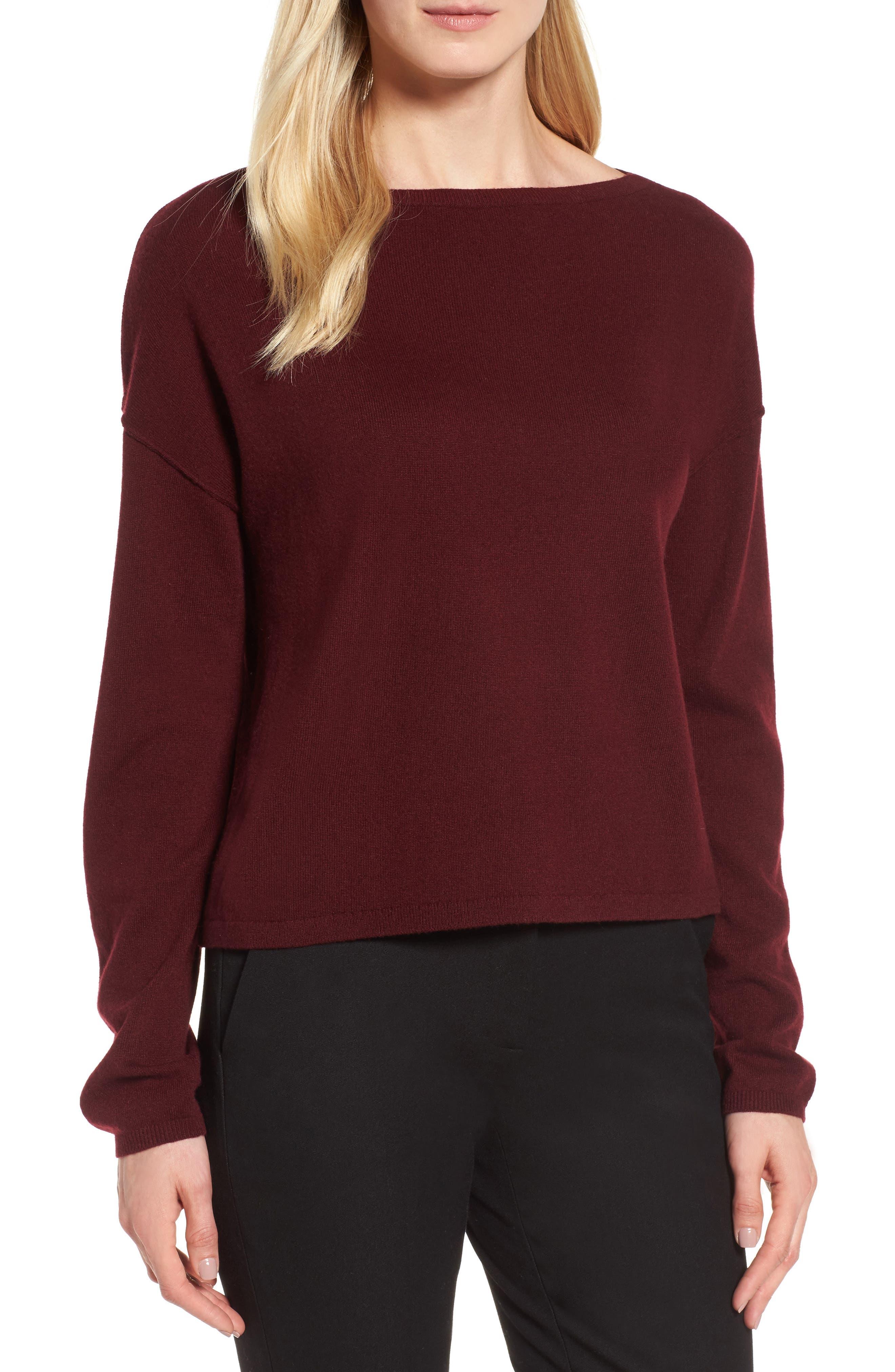 Alternate Image 1 Selected - Nordstrom Signature Bateau Neck Cashmere Sweater