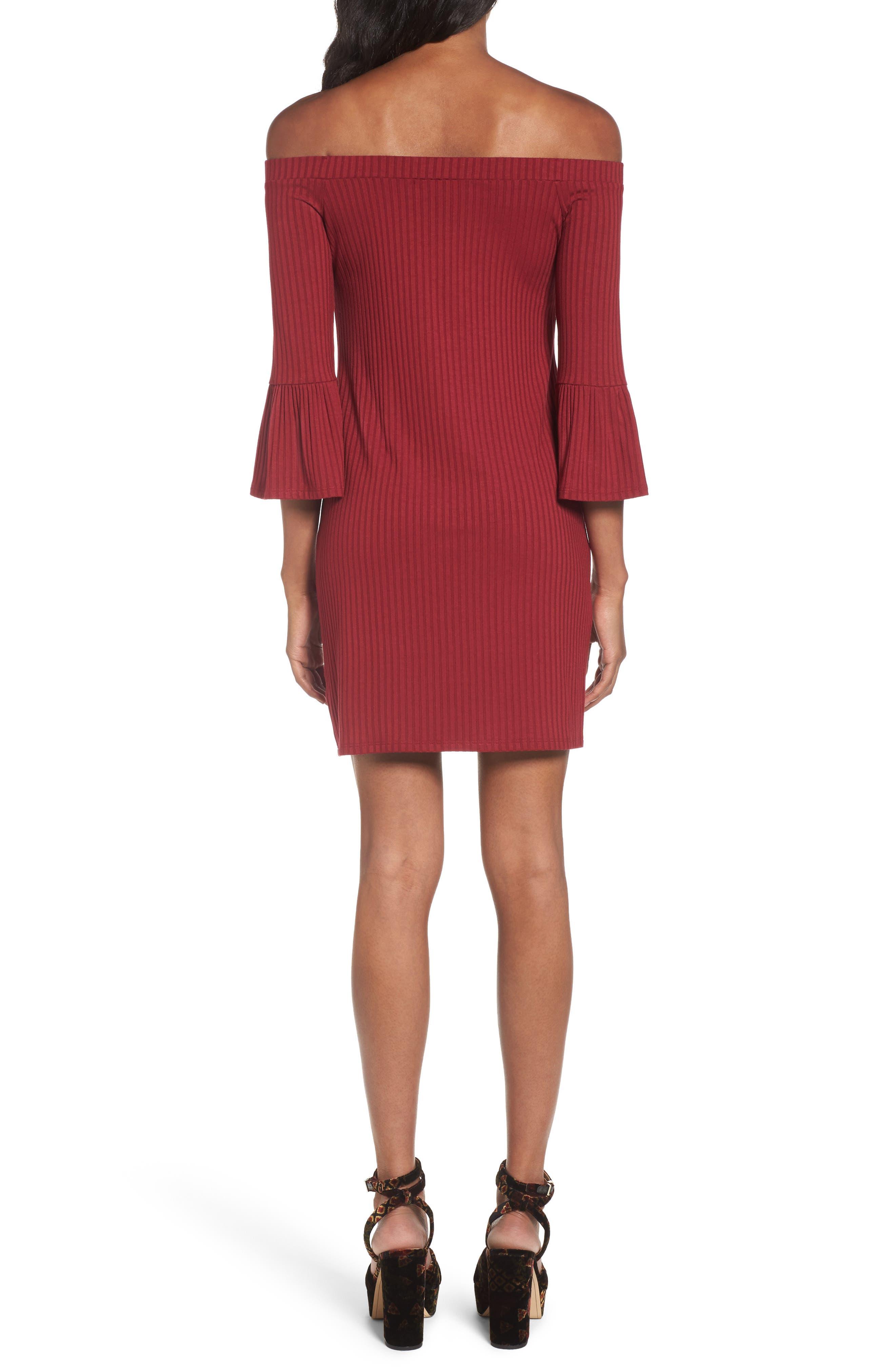Alternate Image 2  - One Clothing Off the Shoulder Rib Knit Dress