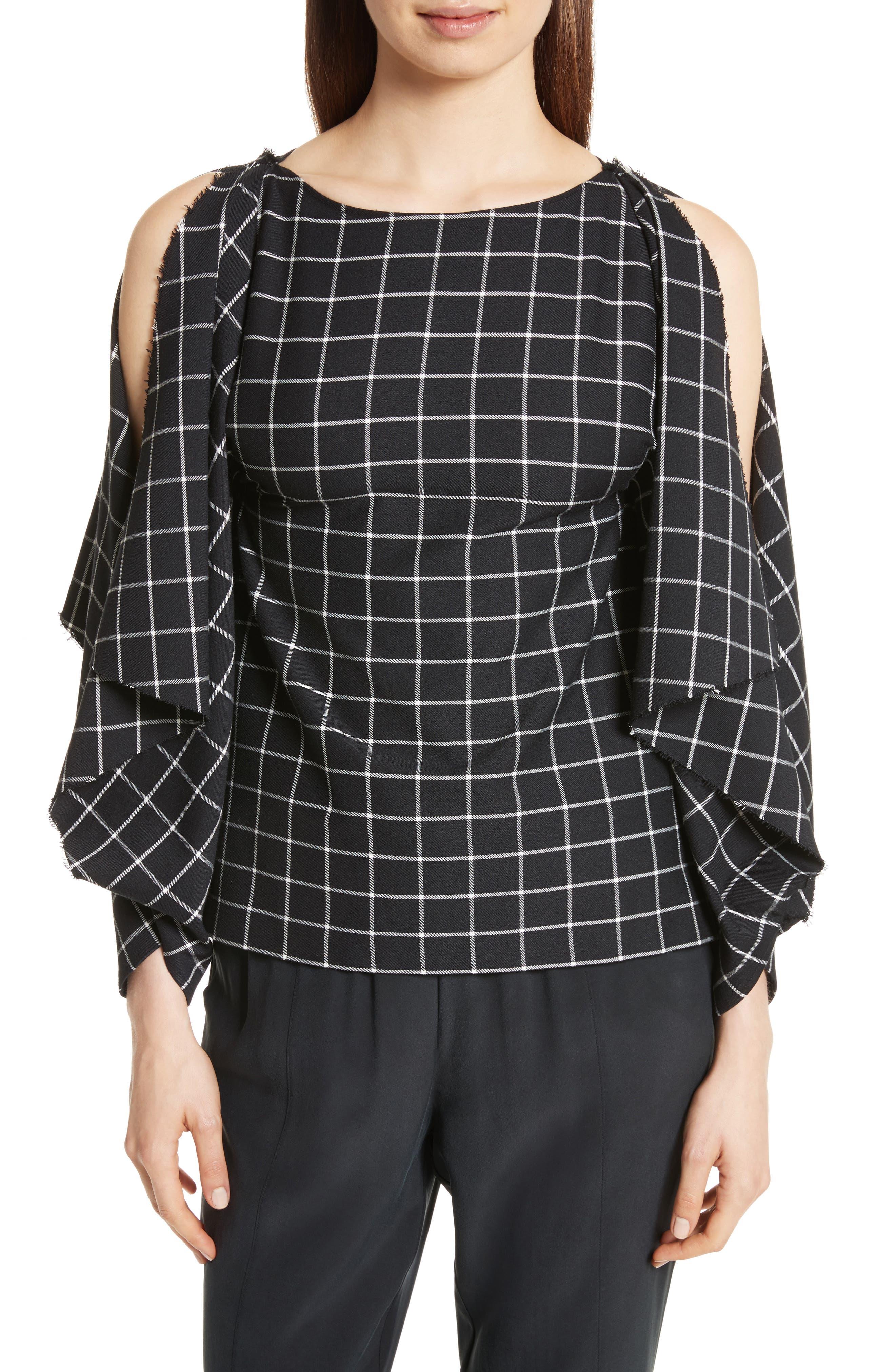 Windowpane Print Cold Shoulder Top,                         Main,                         color, Black/ White Plaid