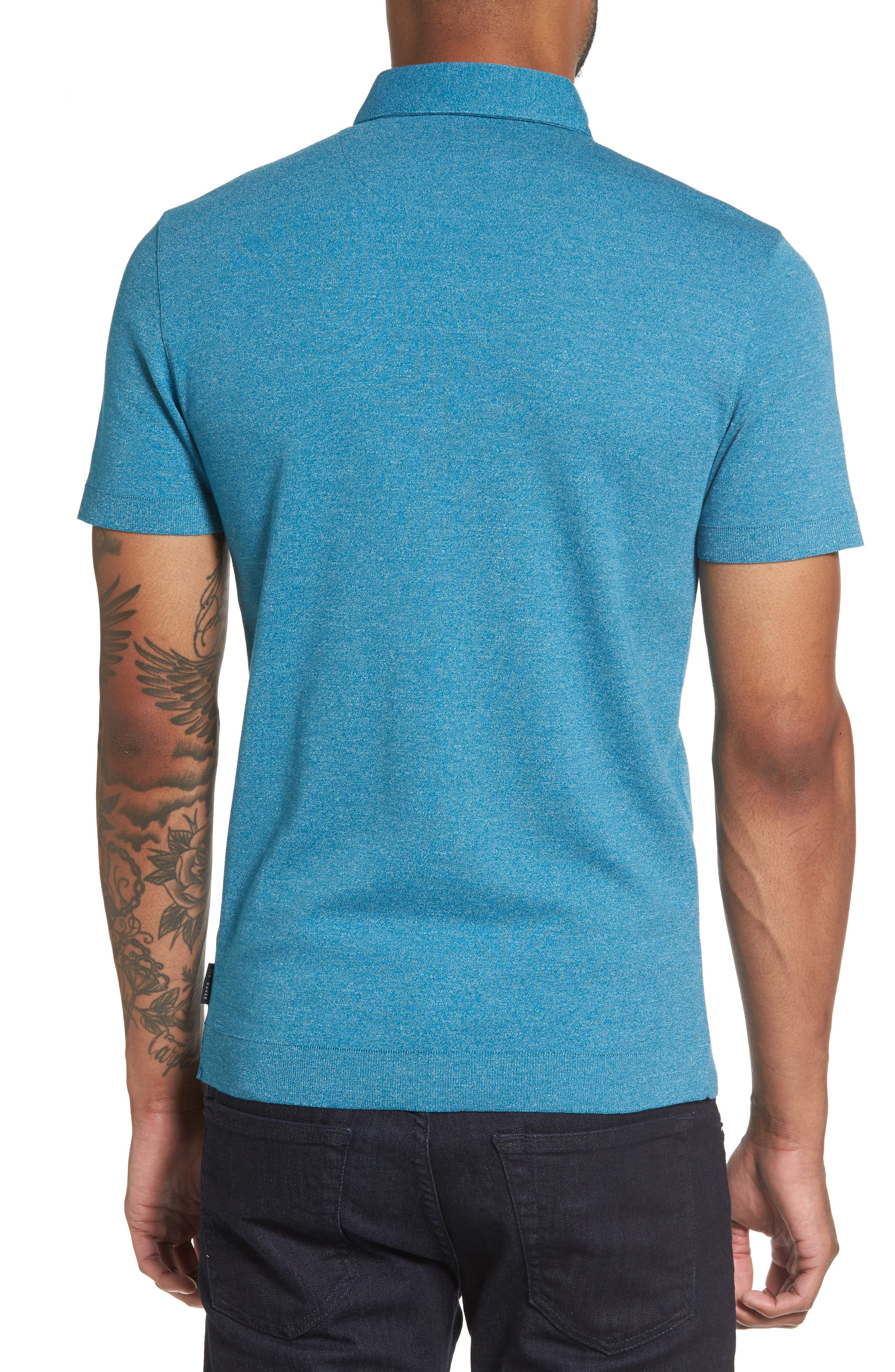 Frankiy Button Collar Polo,                             Alternate thumbnail 2, color,                             Teal