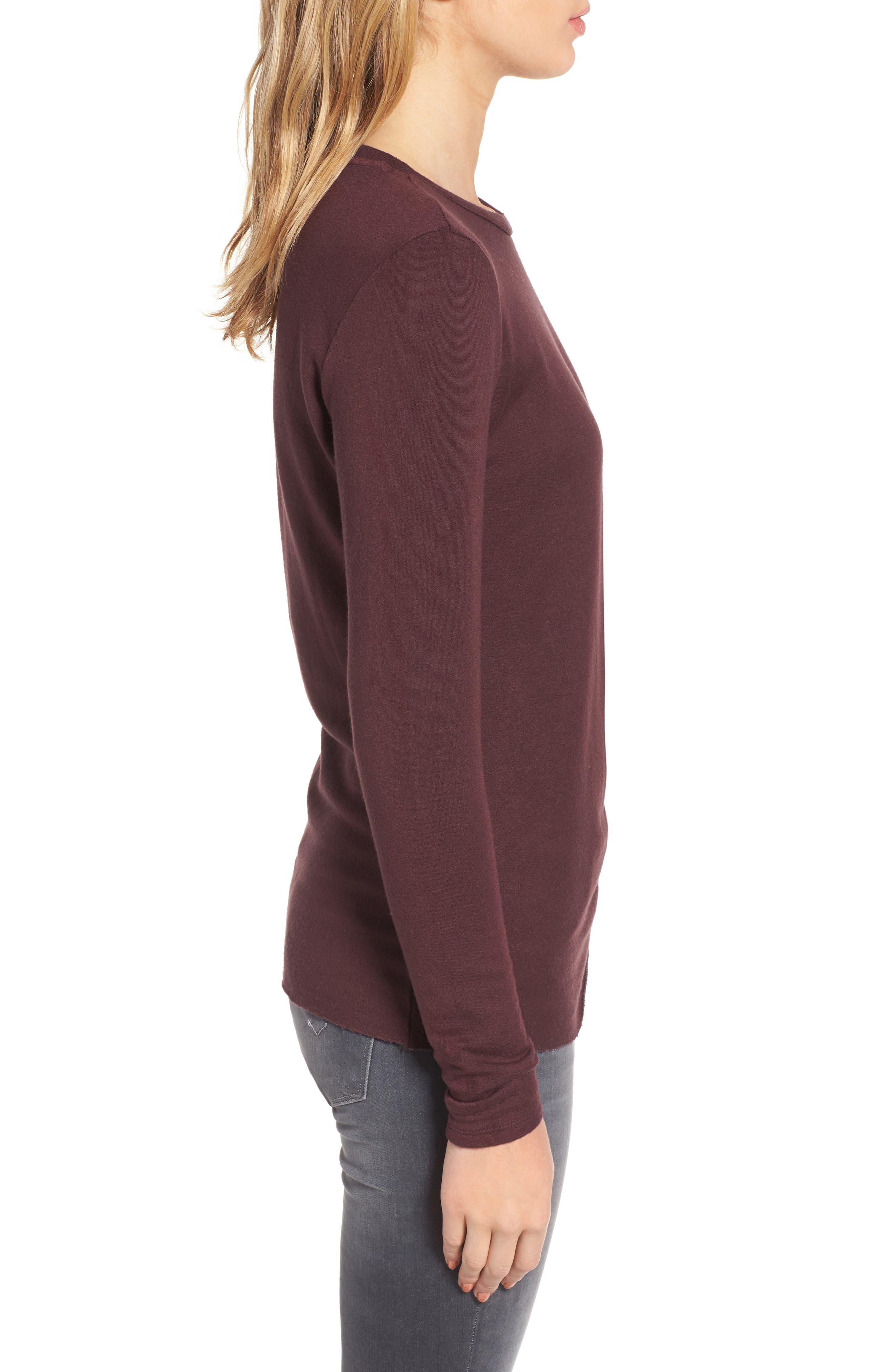 Twist Front Fleece Sweatshirt,                             Alternate thumbnail 3, color,                             Wine