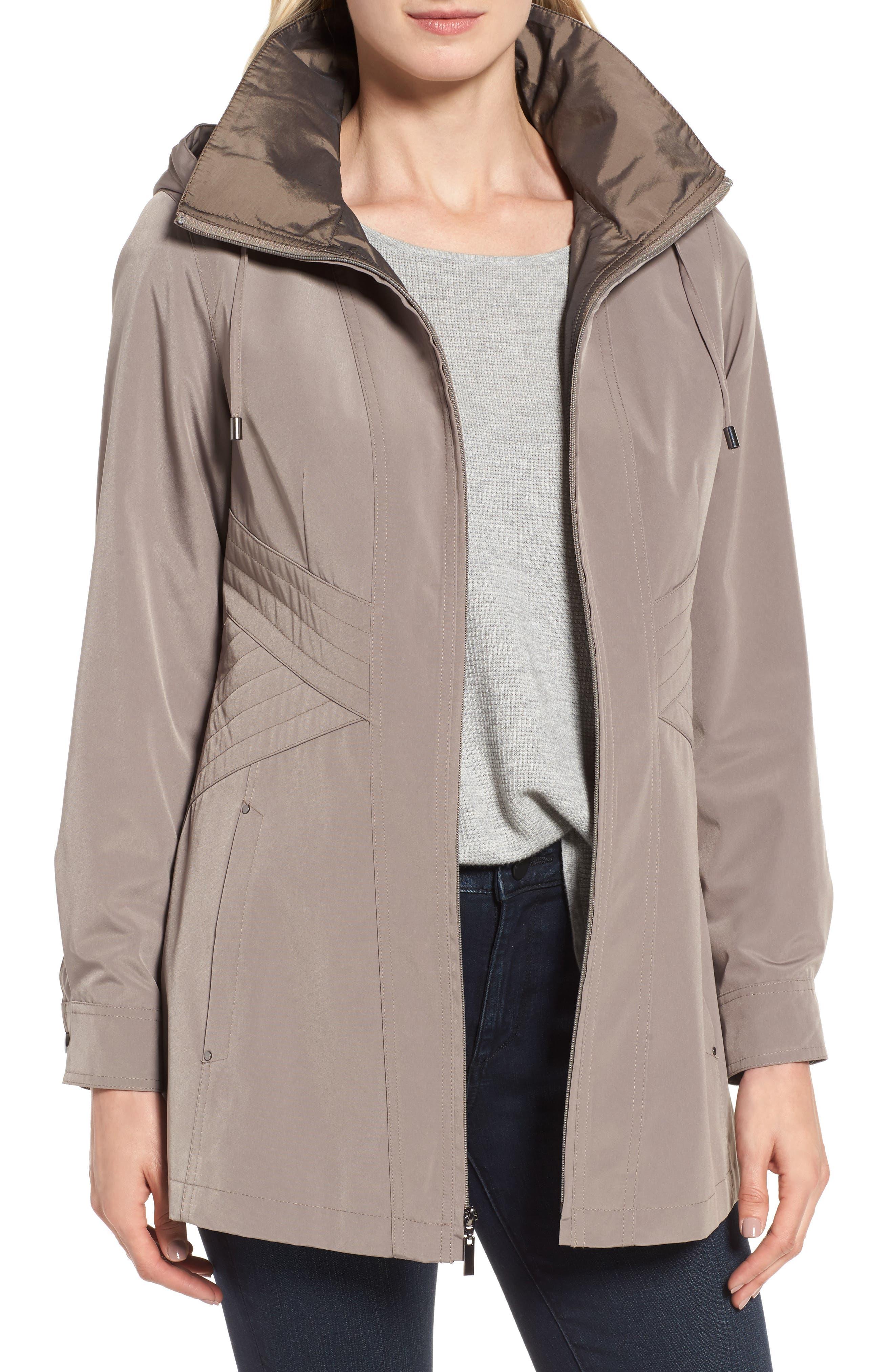 Alternate Image 1 Selected - Gallery Two-Tone Long Silk Look Raincoat (Regular & Petite)