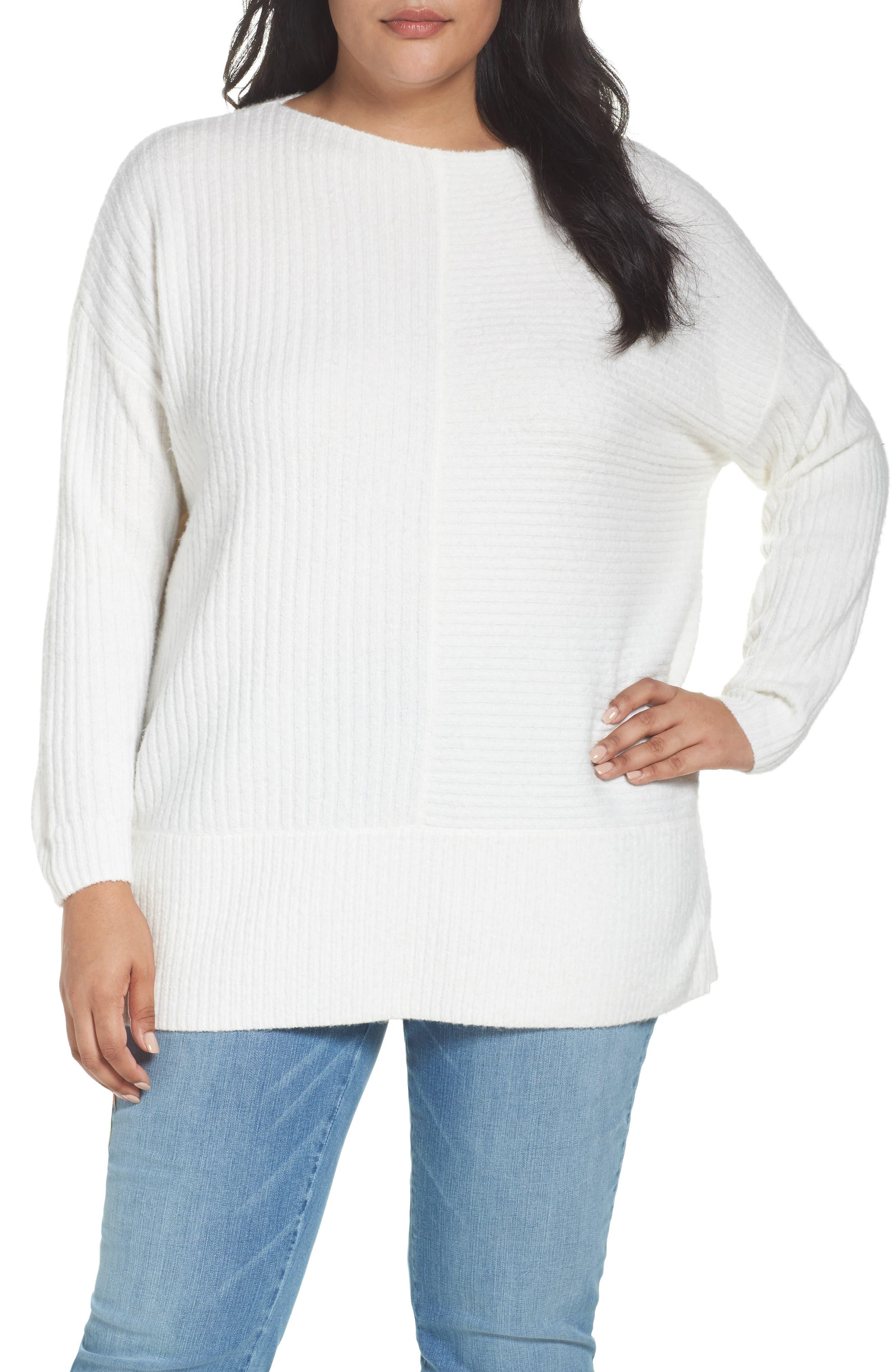 Caslon® Mixed Stitch Bateau Neck Sweater (Plus Size)