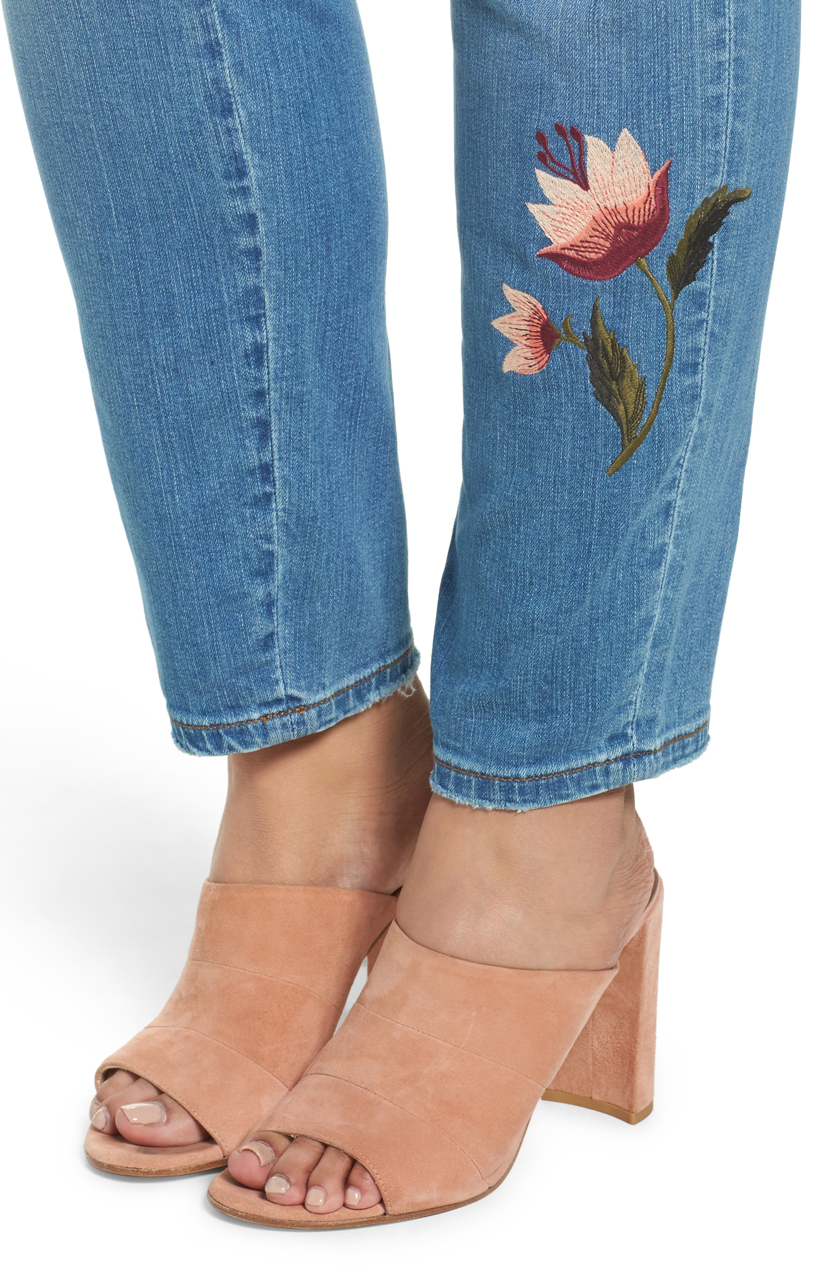 Embroidered Skinny Jeans,                             Alternate thumbnail 5, color,                             Blue Frontier