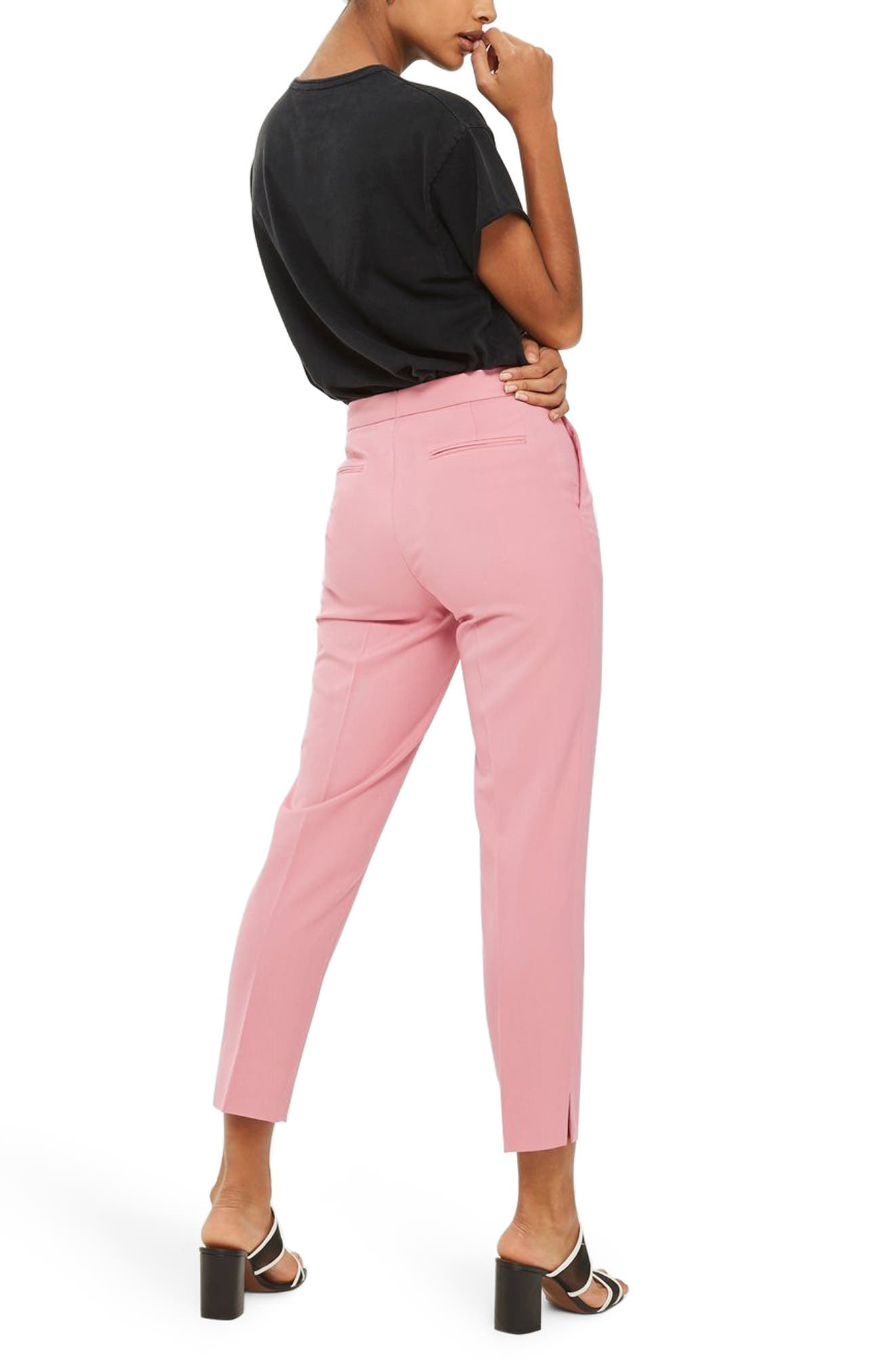 Tailored Cigarette Trousers,                             Alternate thumbnail 3, color,                             Pink