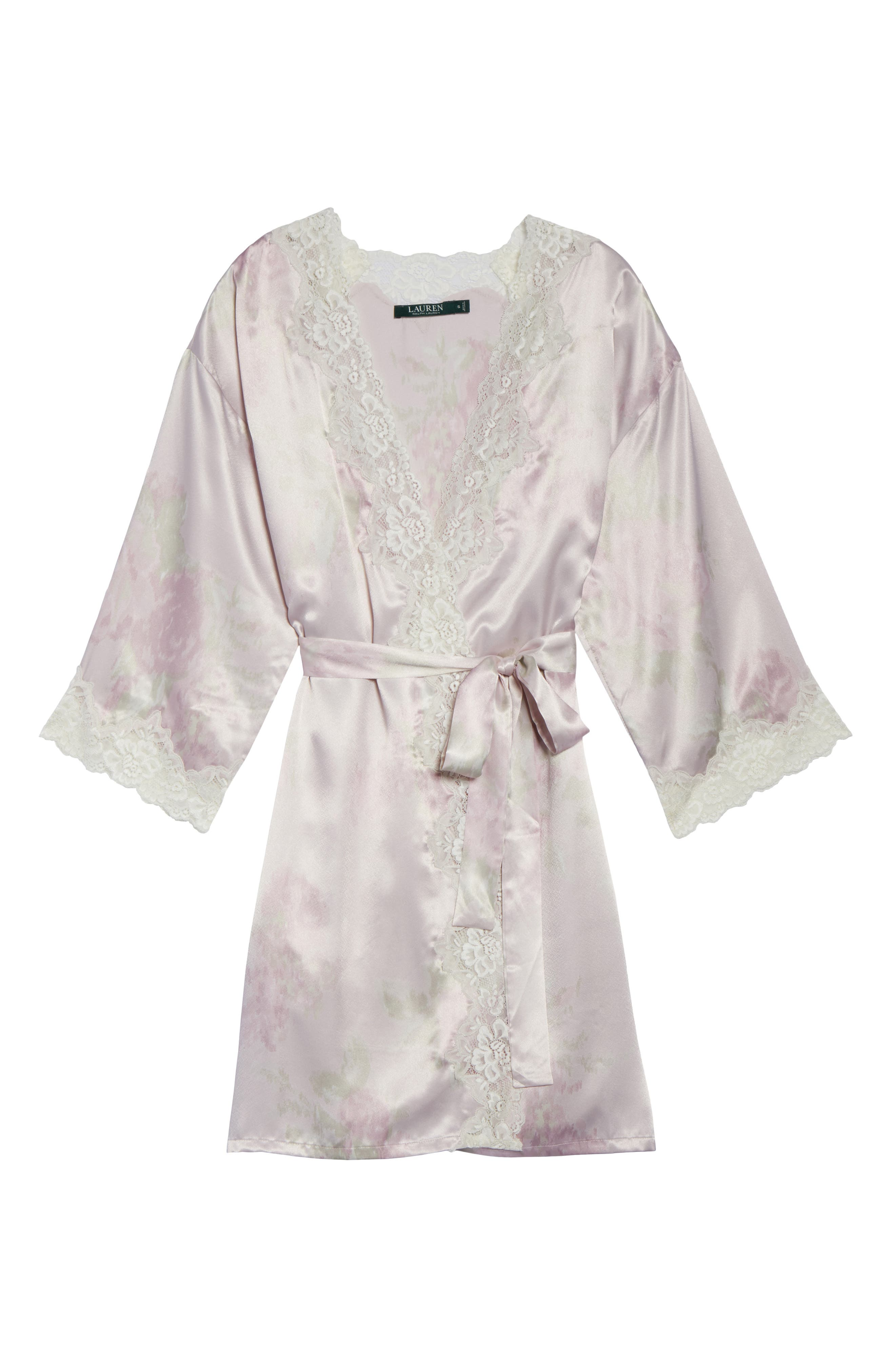 Lace & Satin Robe,                             Alternate thumbnail 4, color,                             Pink Ground Floral