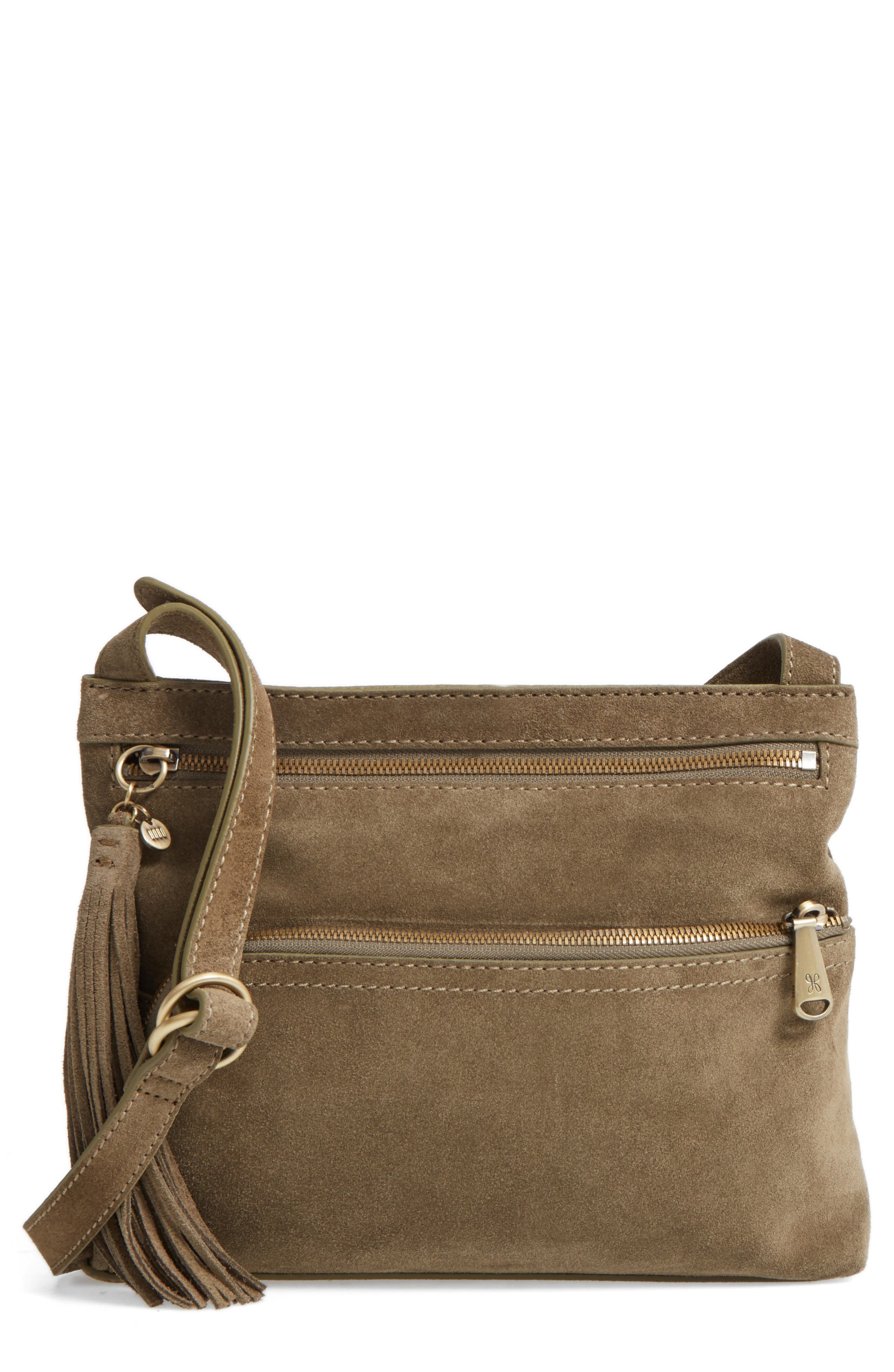 Cassie Calfskin Suede Crossbody Bag,                             Main thumbnail 1, color,                             Sage
