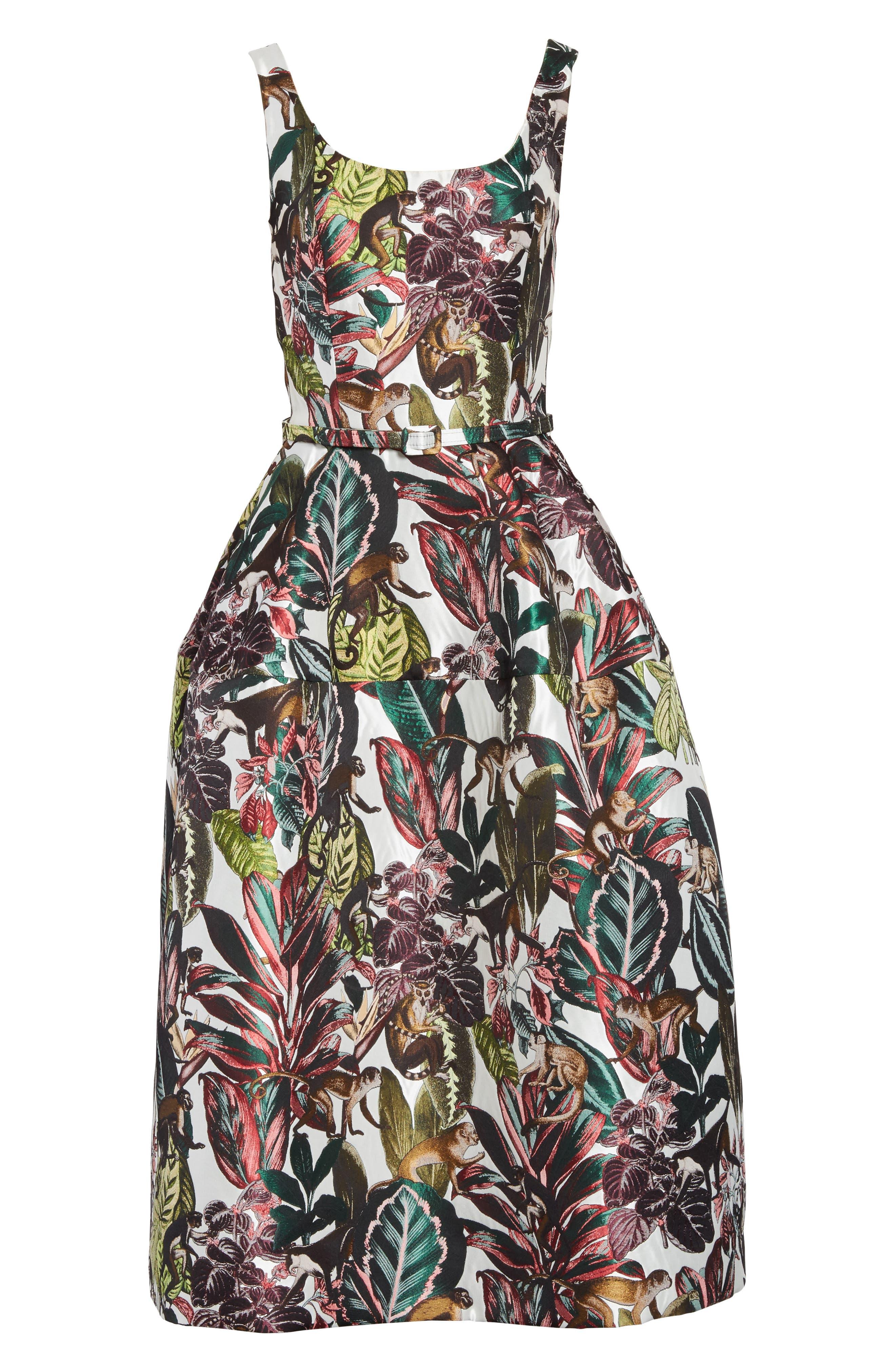 Jungle Jacquard Dress,                             Alternate thumbnail 6, color,                             White Multi