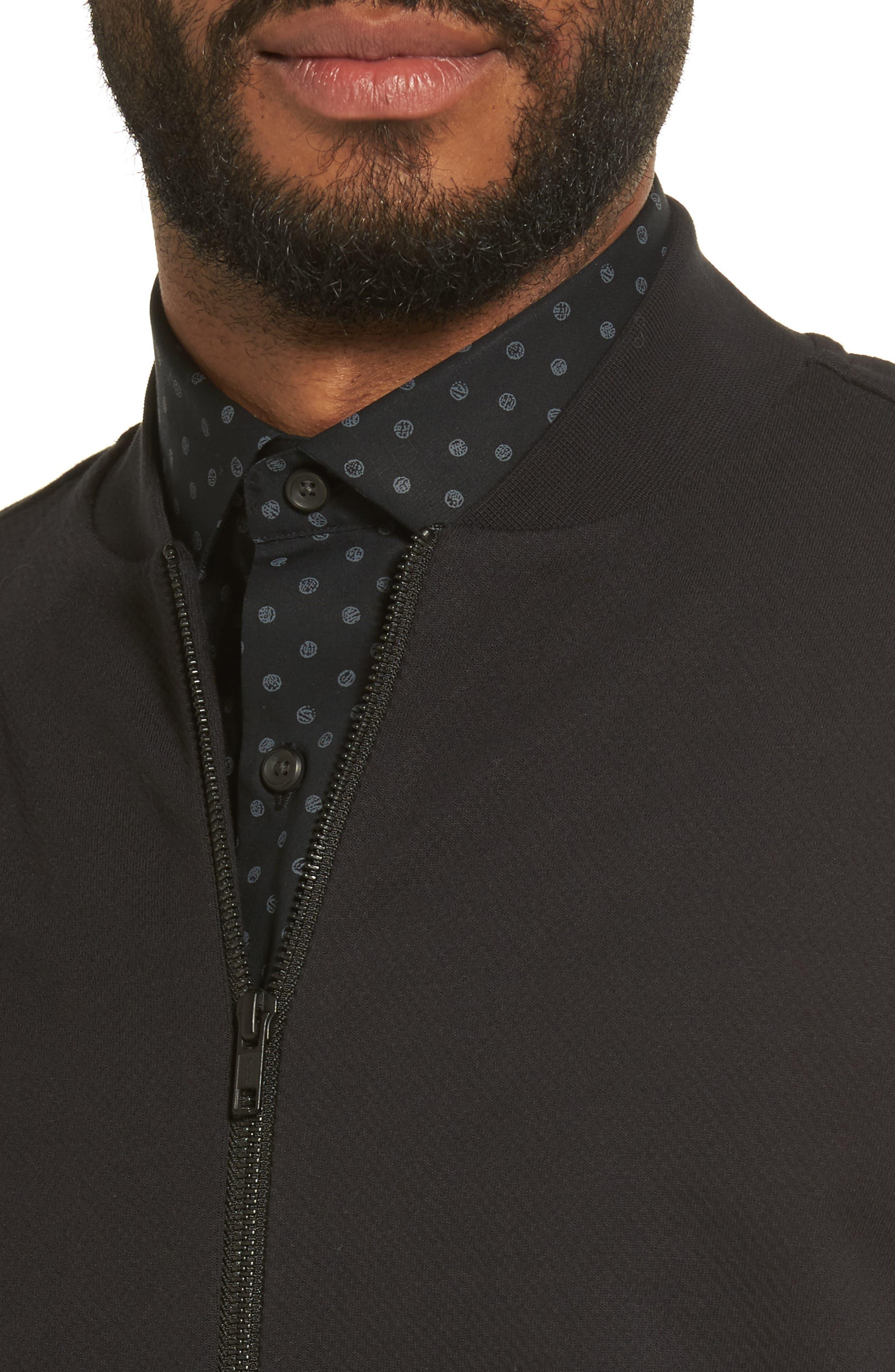 Zip Fleece Bomber Jacket,                             Alternate thumbnail 4, color,                             Black Caviar