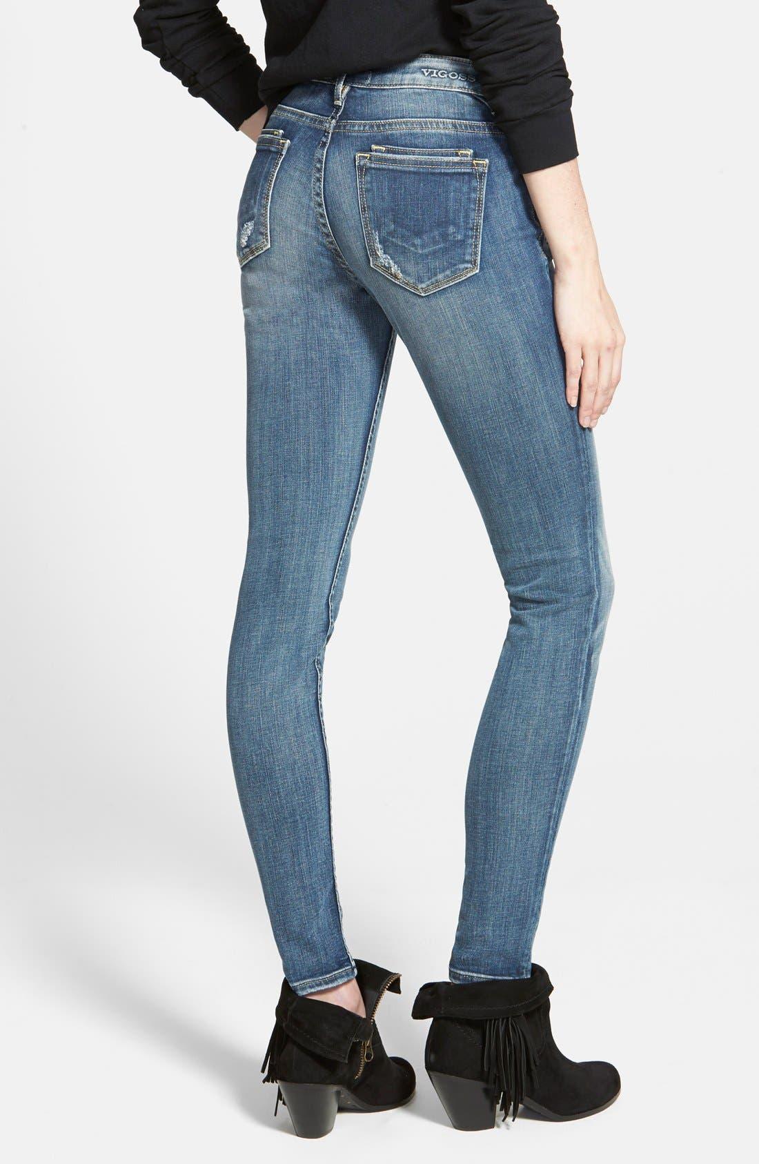 Alternate Image 2  - Vigoss 'Dublin' Distressed Skinny Jeans (Medium Wash)
