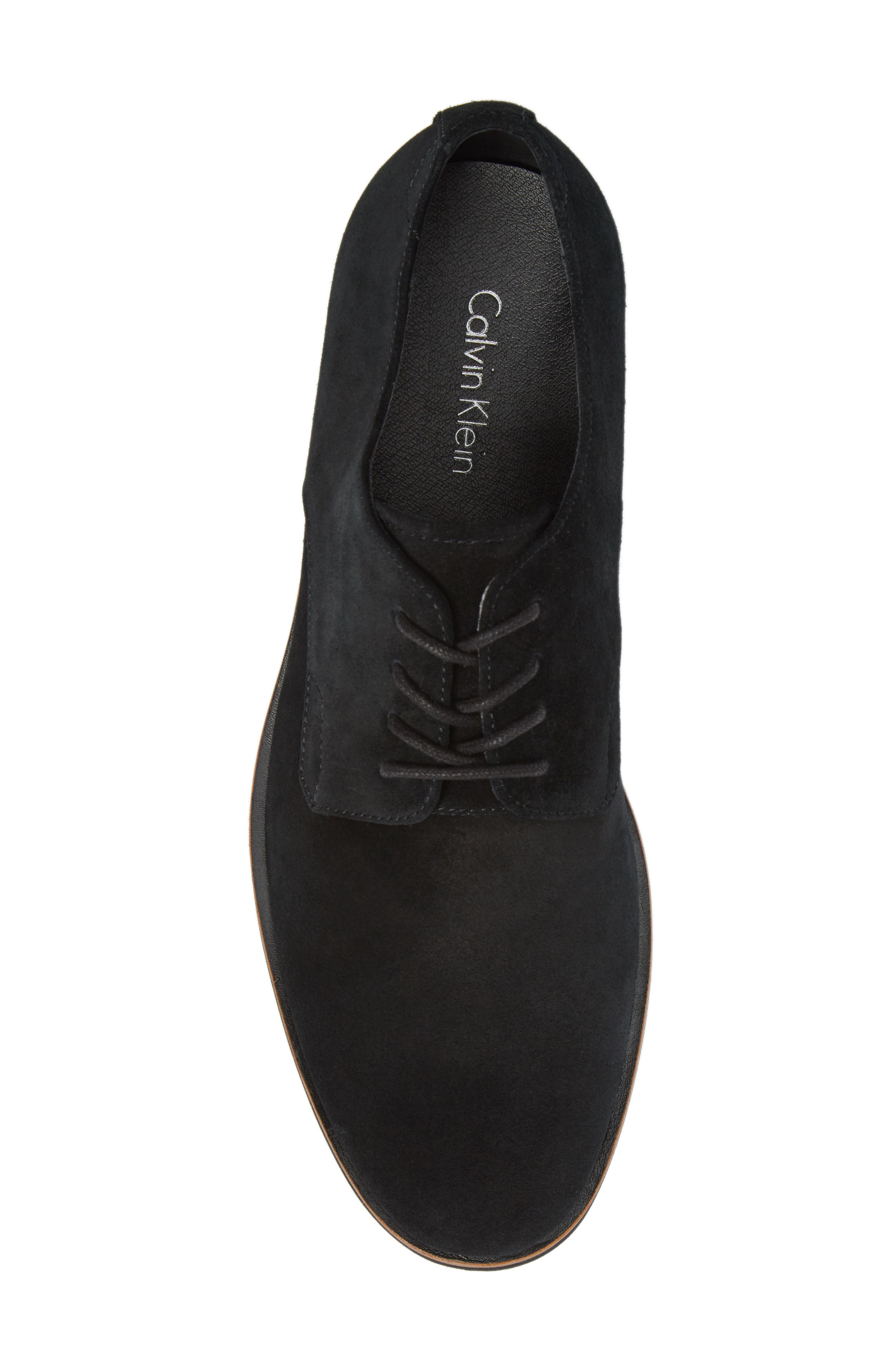 Faustino Plain Toe Derby,                             Alternate thumbnail 5, color,                             Black Suede