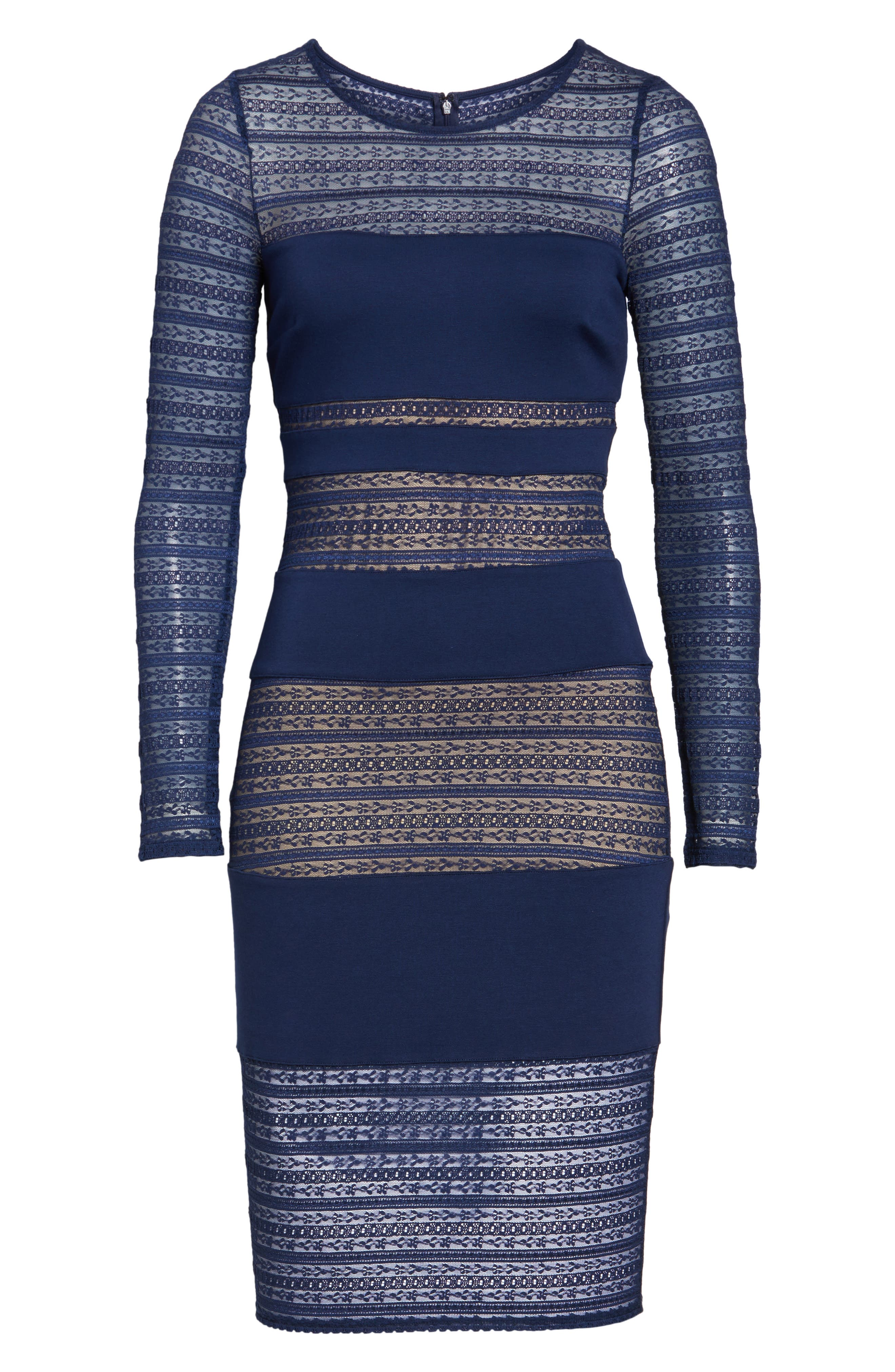 Lovestruck Stripe Body-Con Dress,                             Alternate thumbnail 7, color,                             Navy