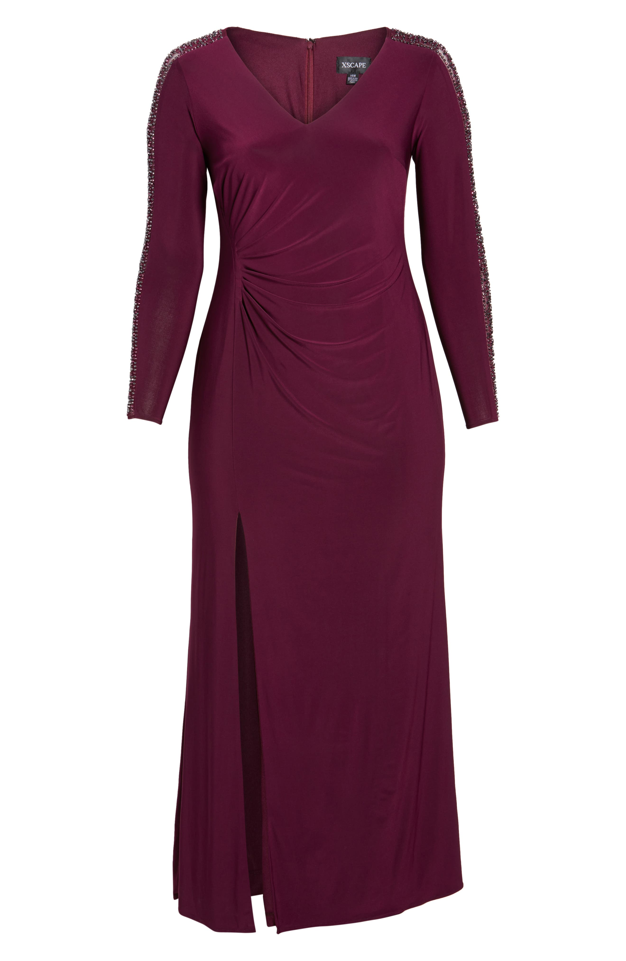 Alternate Image 6  - Xscape Embellished Jersey A-Line Gown (Plus Size)