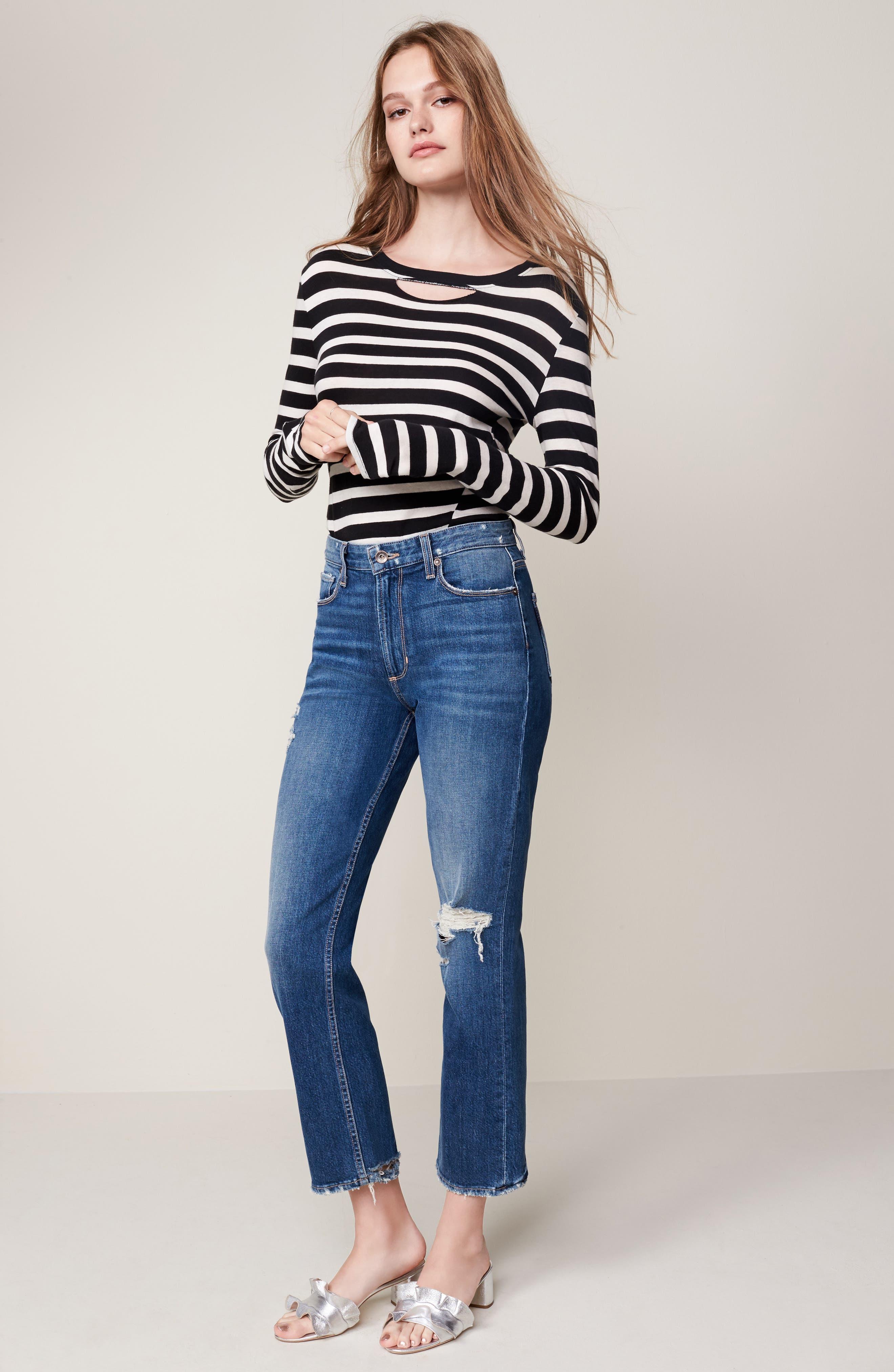 Alternate Image 2  - PAIGE Vintage - Sarah High Waist Crop Straight Leg Jeans (Kellan Destructed)