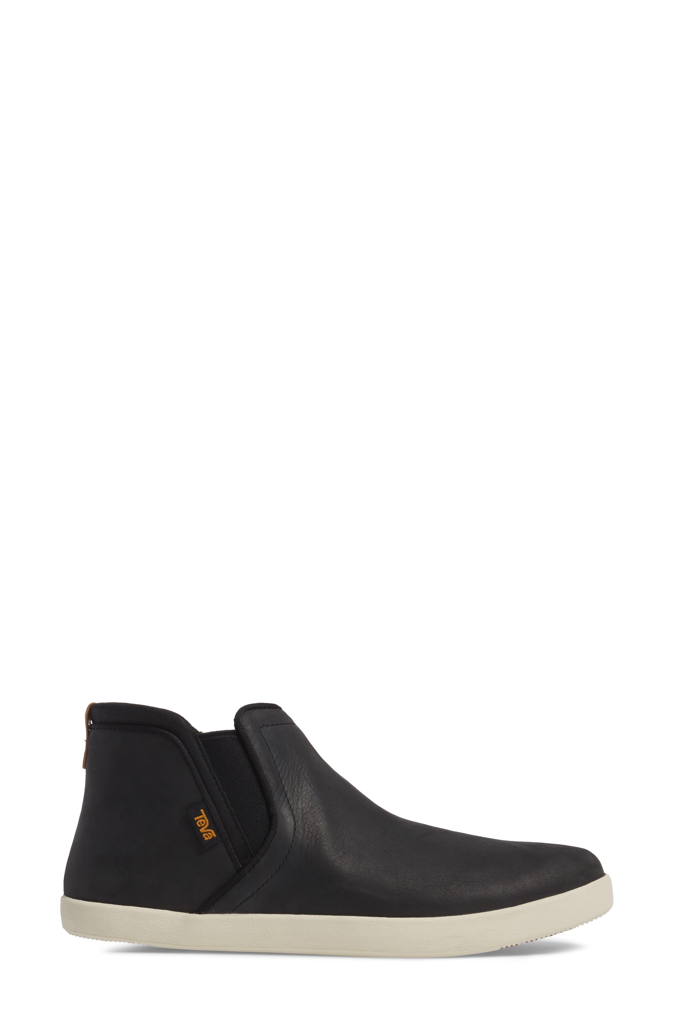 Willow Chelsea Sneaker,                             Alternate thumbnail 3, color,                             Black Leather