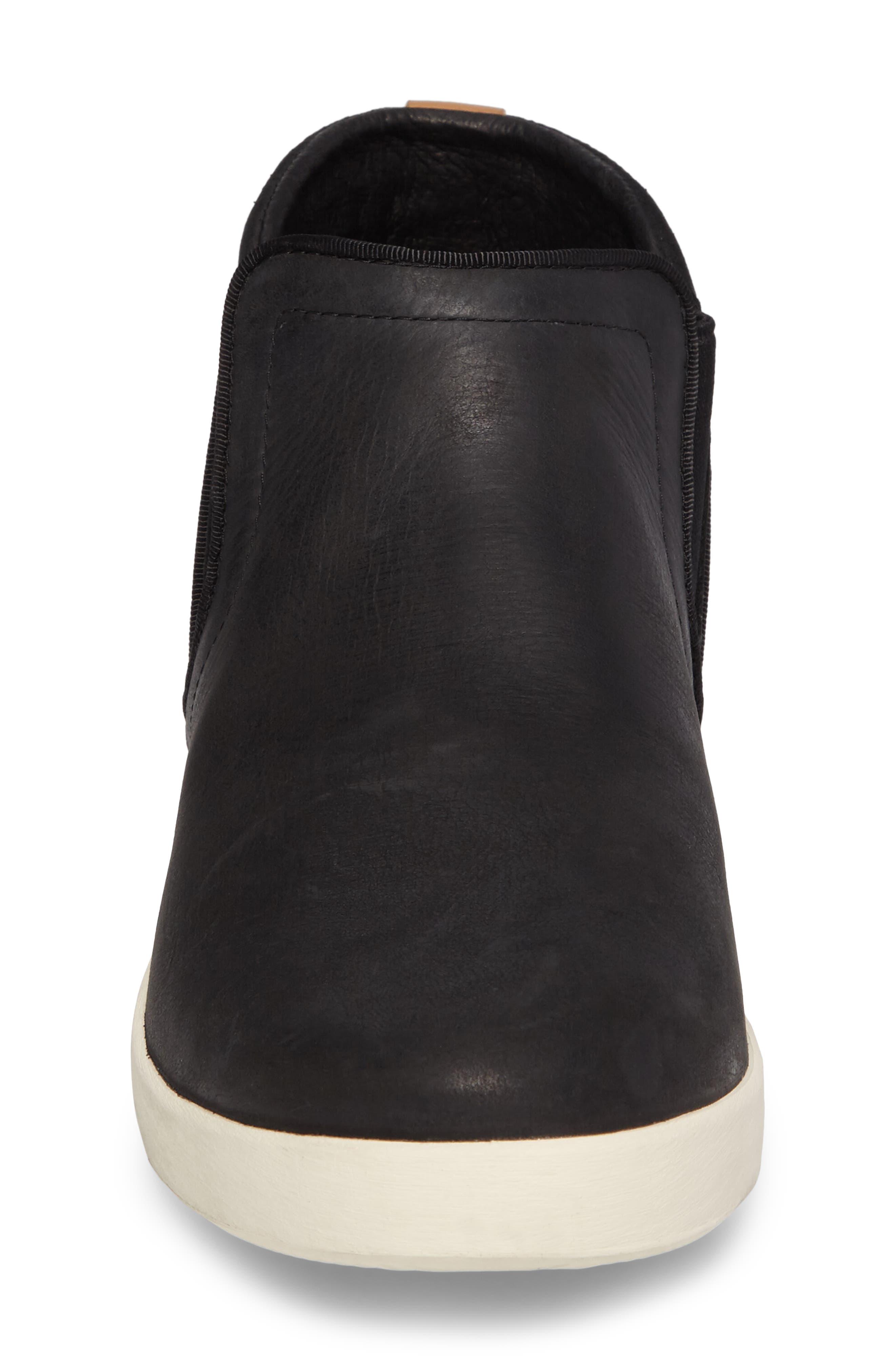 Willow Chelsea Sneaker,                             Alternate thumbnail 4, color,                             Black Leather