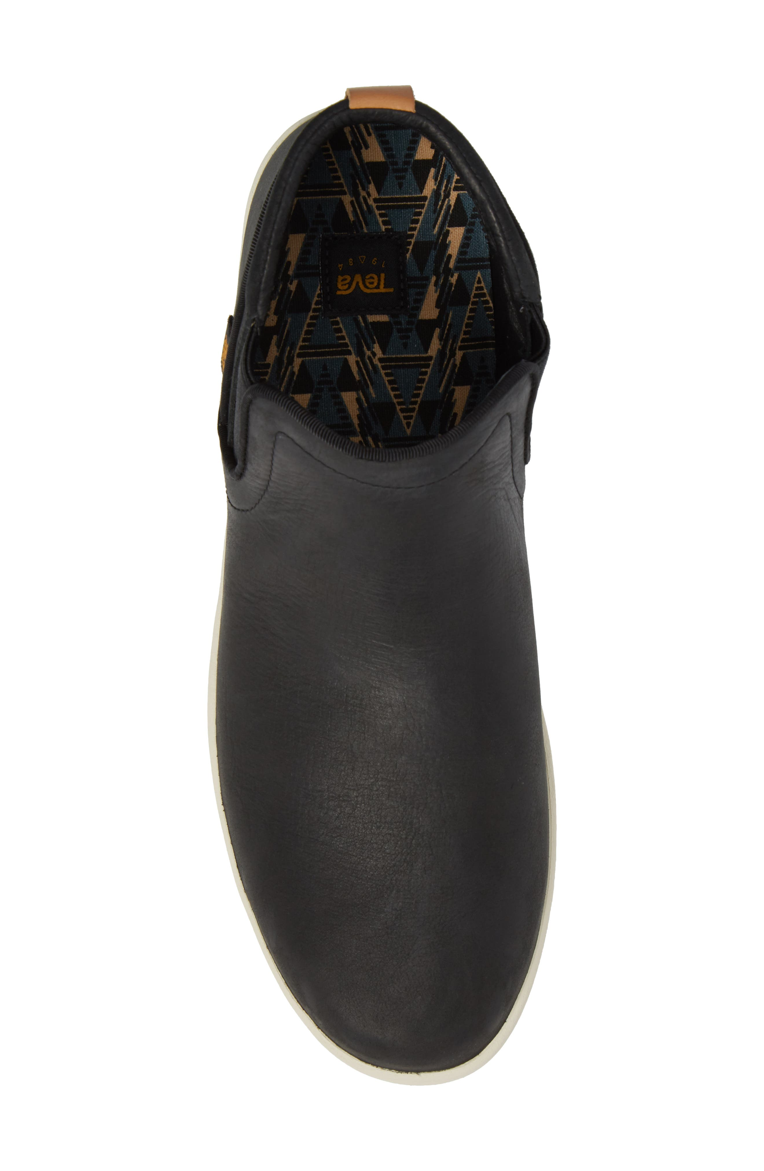 Willow Chelsea Sneaker,                             Alternate thumbnail 5, color,                             Black Leather