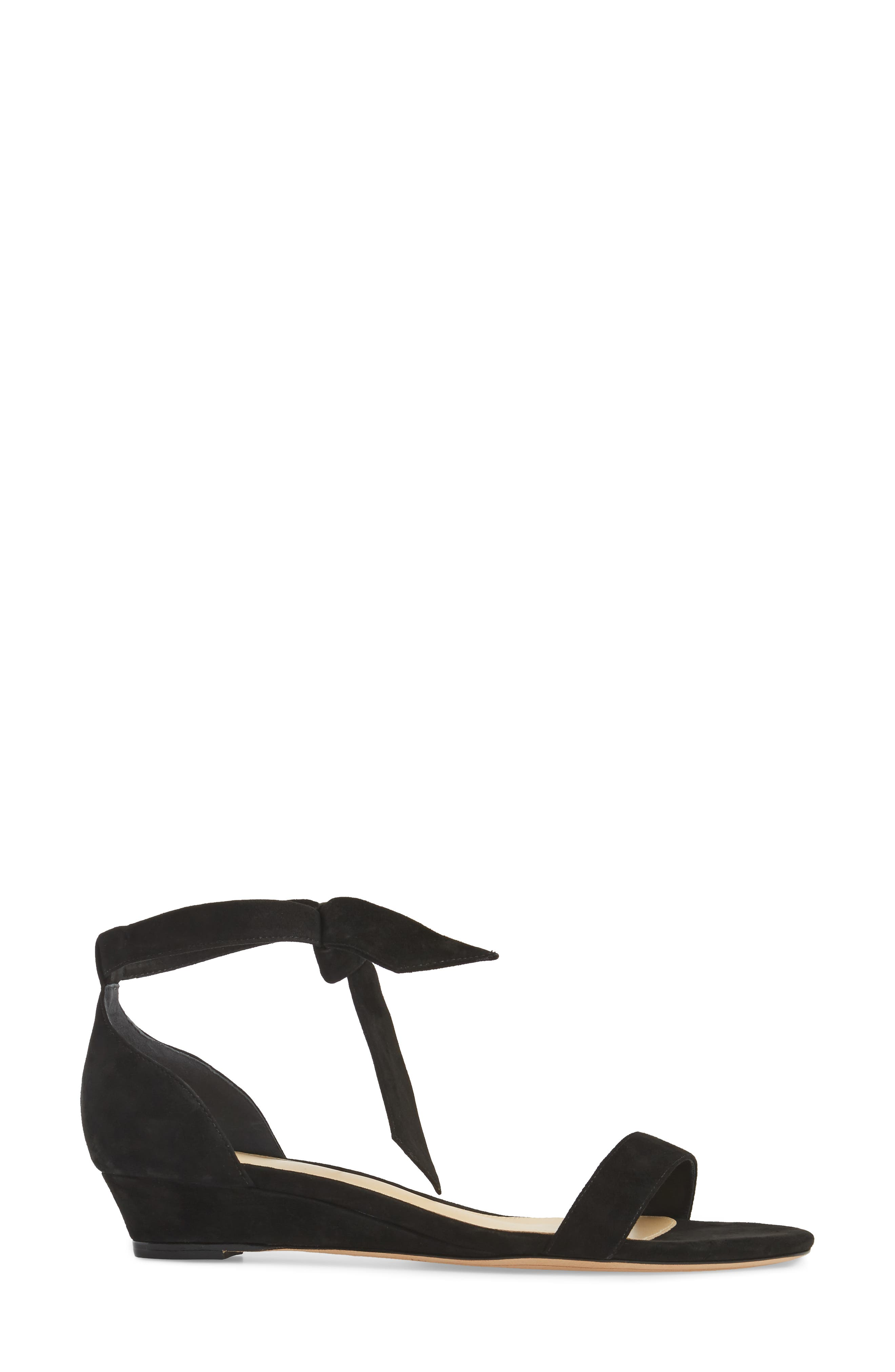 Atena Tie Strap Wedge Sandal,                             Alternate thumbnail 3, color,                             Black Suede