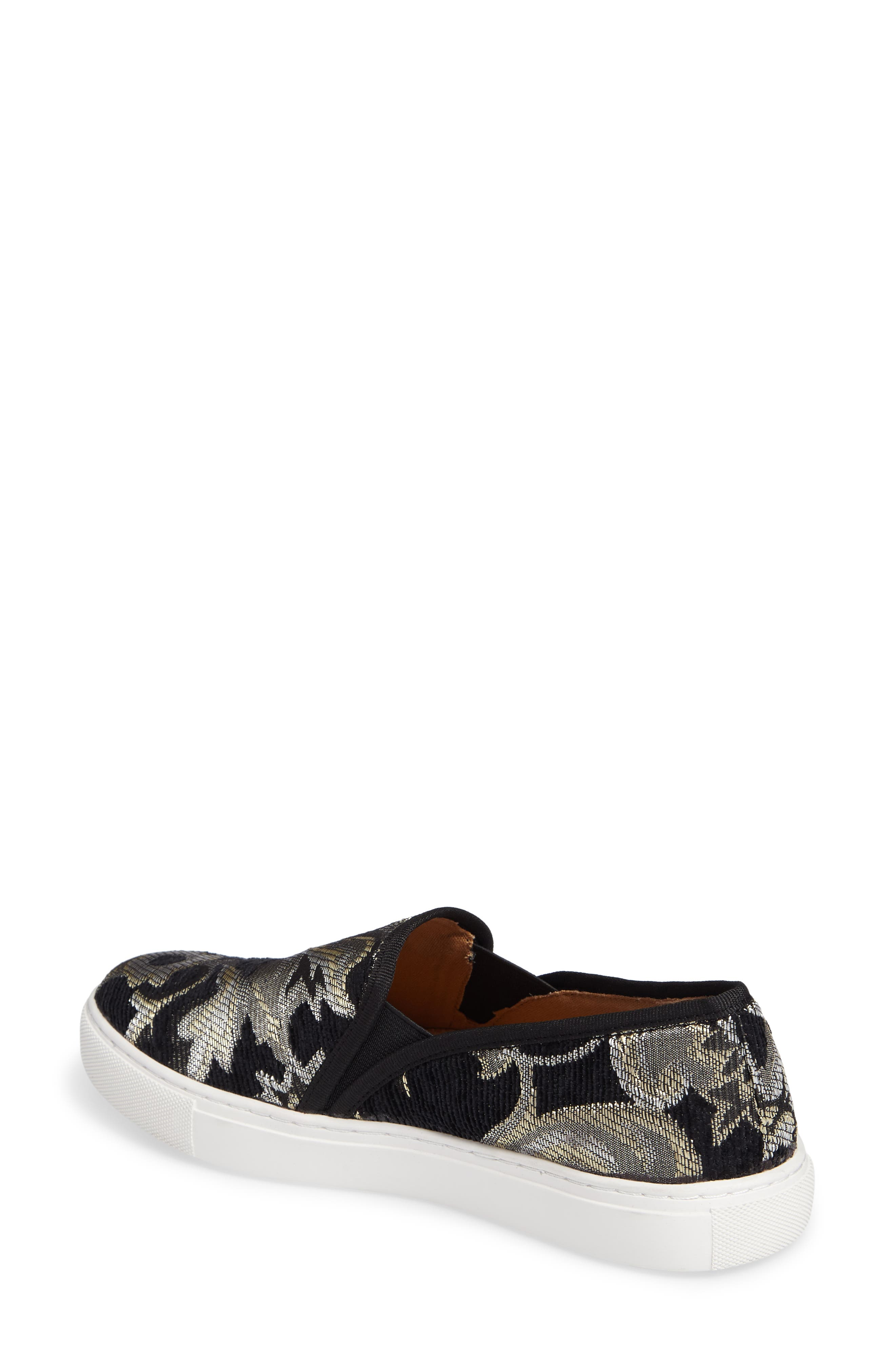 Skipper Slip-On Sneaker,                             Alternate thumbnail 2, color,                             Black Brocade Leather