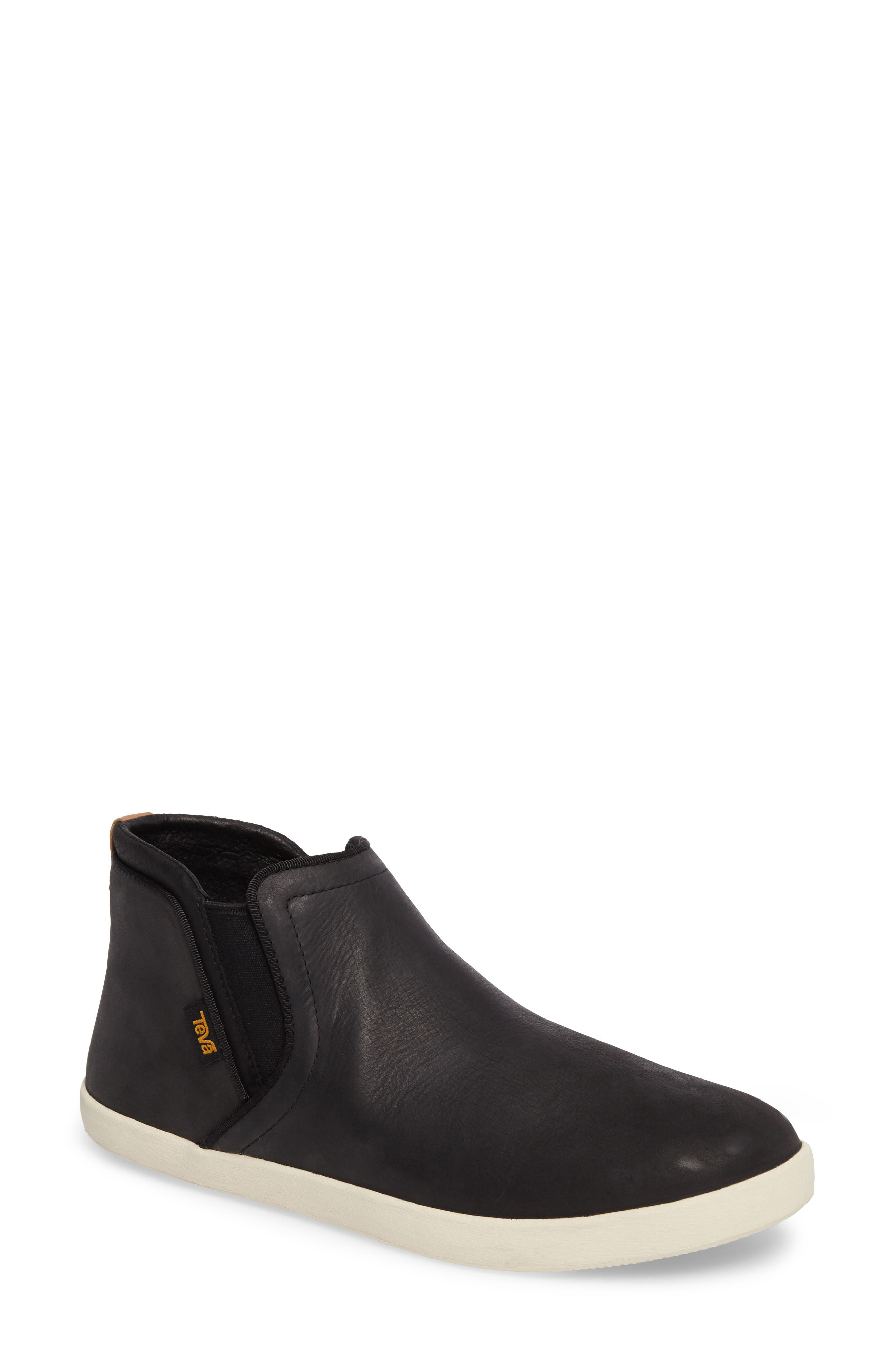 Willow Chelsea Sneaker,                             Main thumbnail 1, color,                             Black Leather