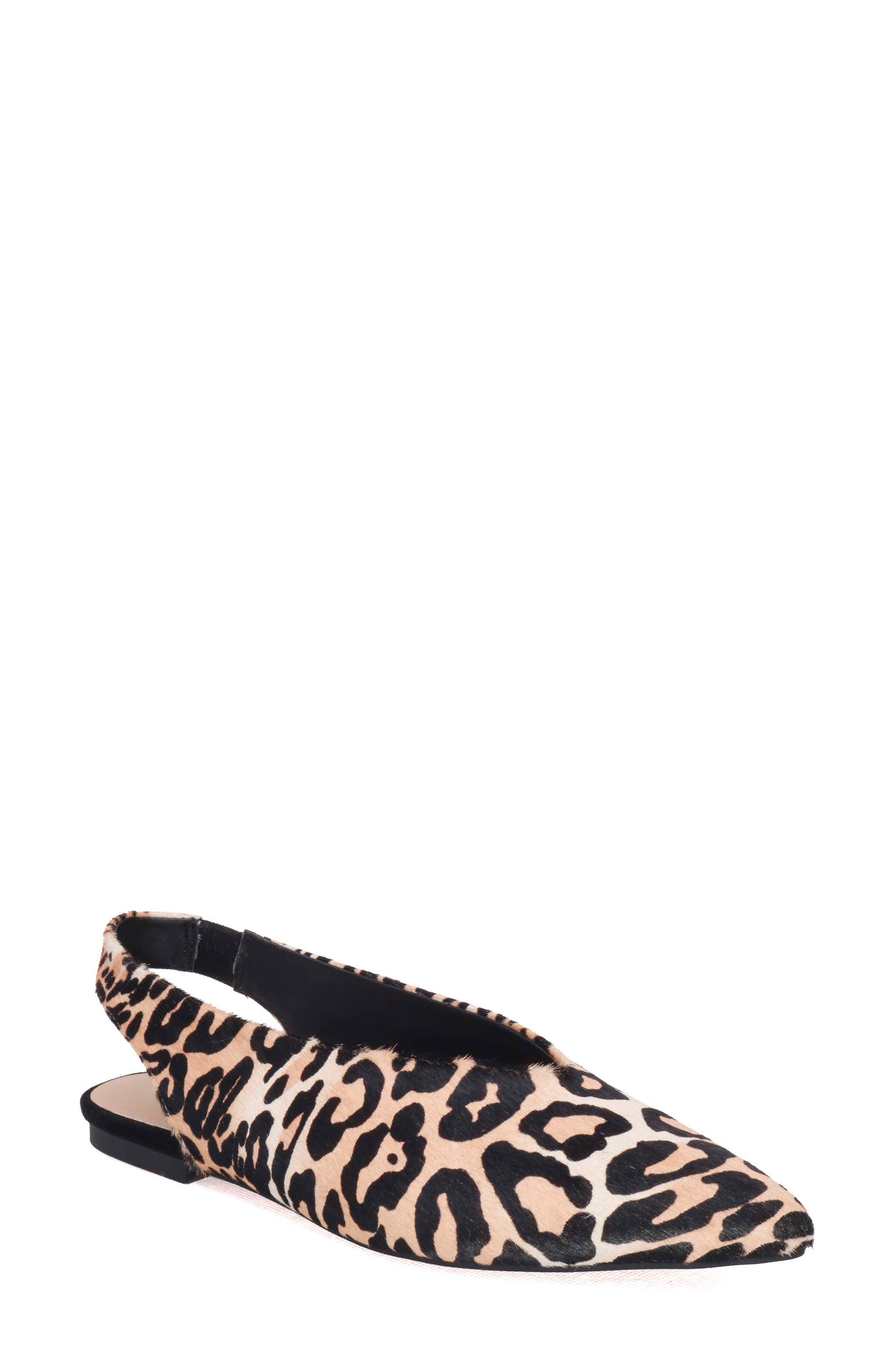 Violet Genuine Calf Hair Slingback Flat,                             Main thumbnail 1, color,                             Leopard Calf Hair
