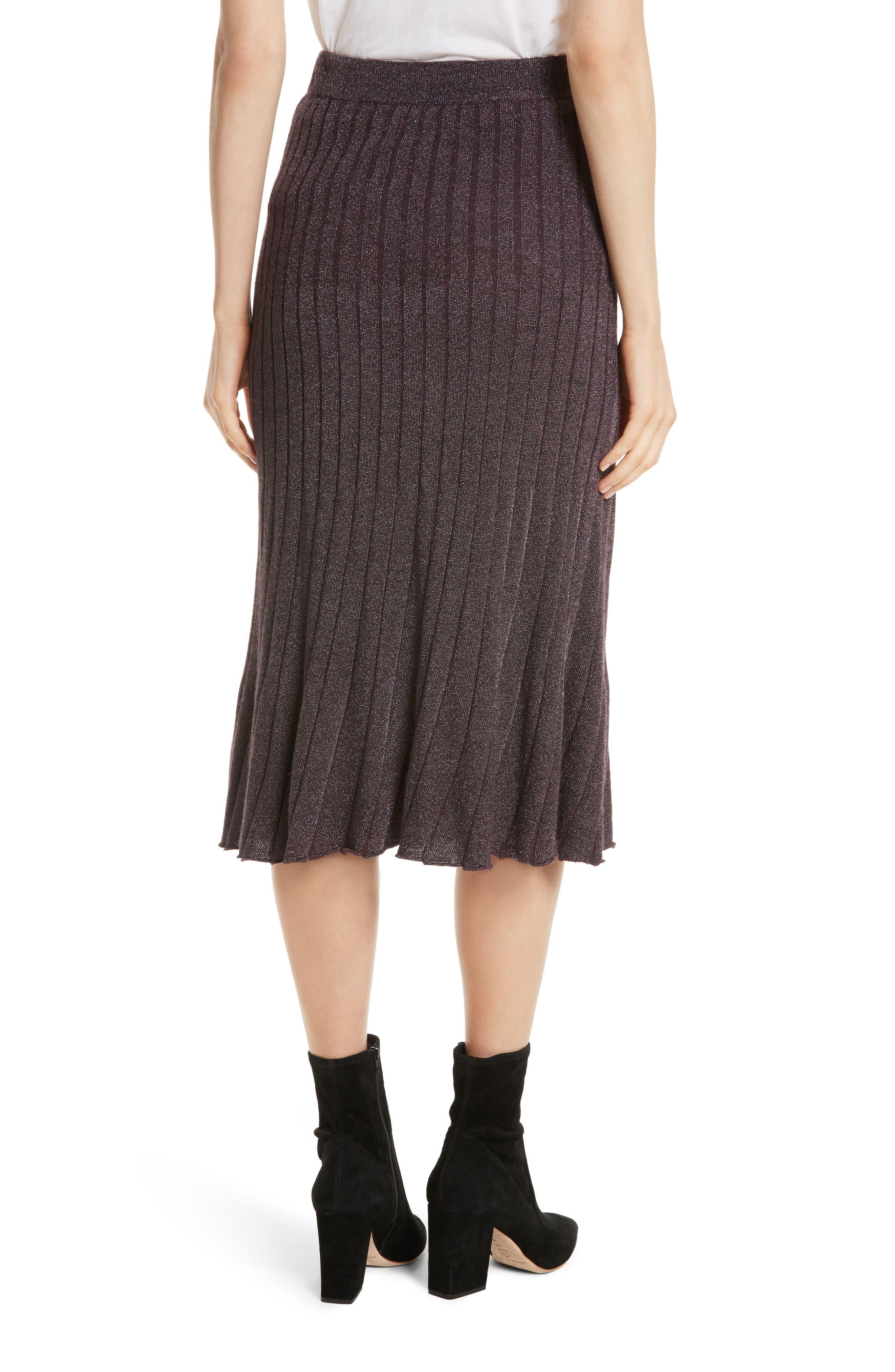 Metallic Ribbed Knit Skirt,                             Alternate thumbnail 2, color,                             Merlot