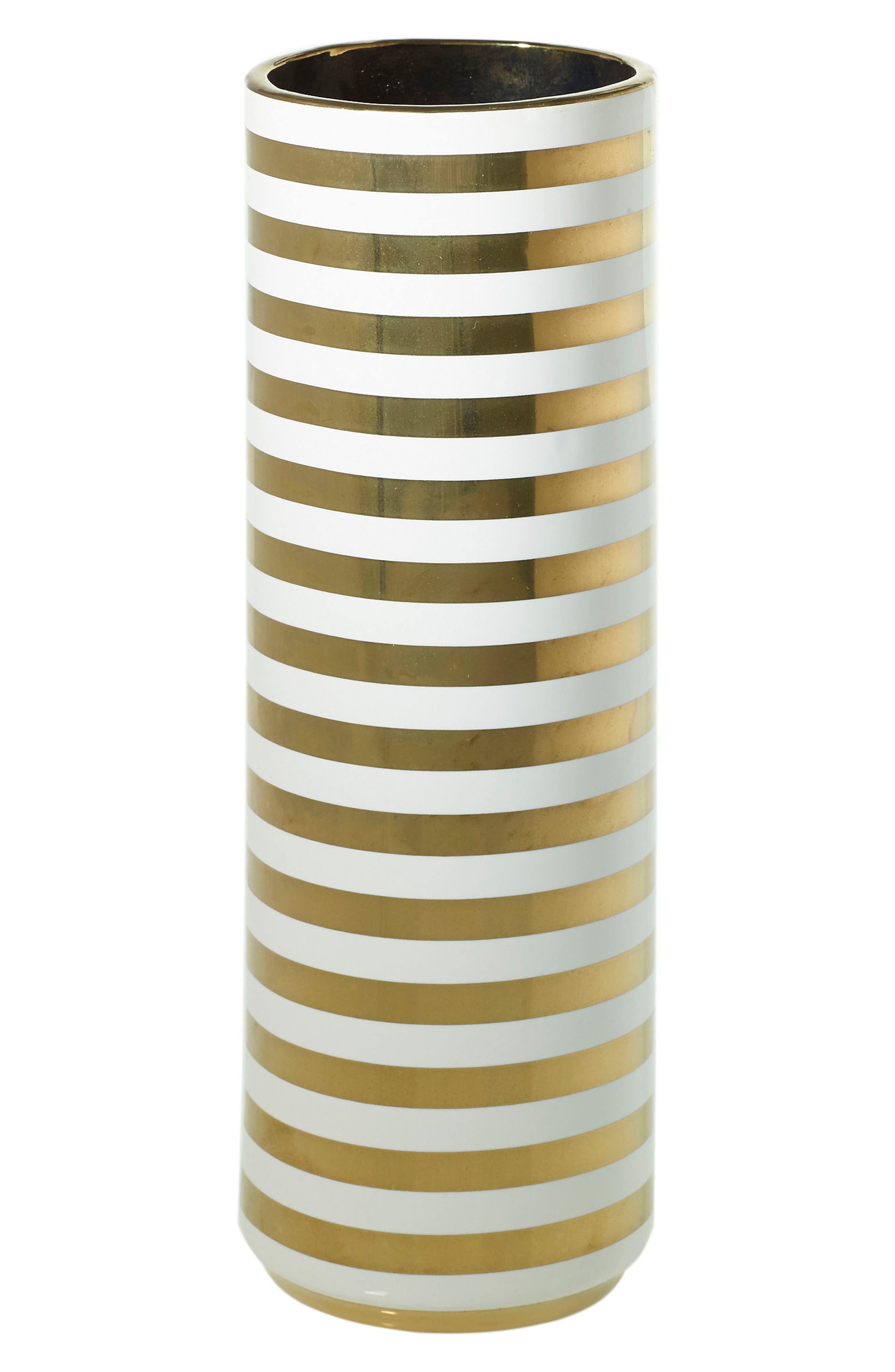 Spade Ceramic Vase,                         Main,                         color, Stripe
