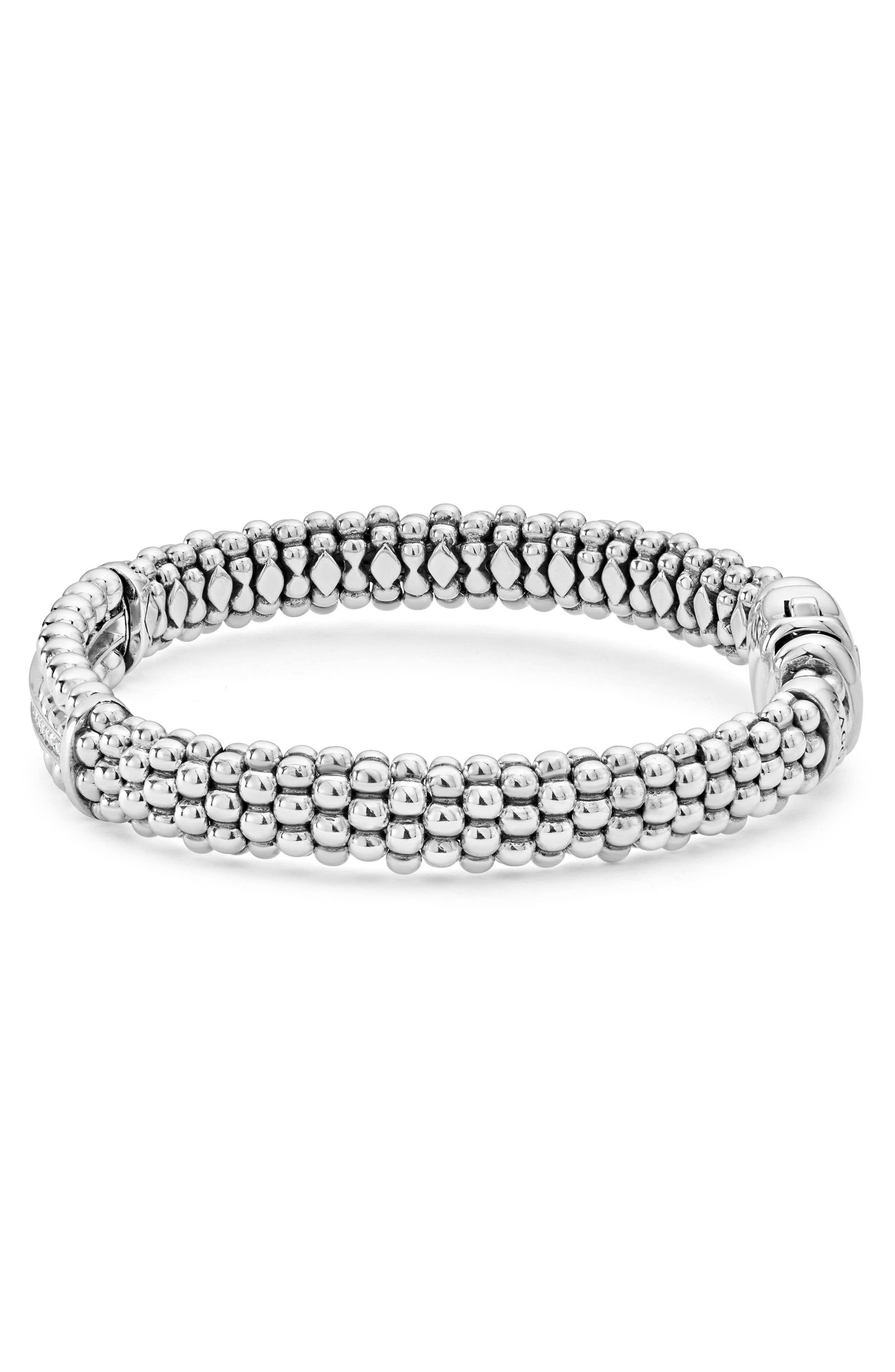 Spark Diamond Station Bracelet,                             Alternate thumbnail 4, color,                             Diamond