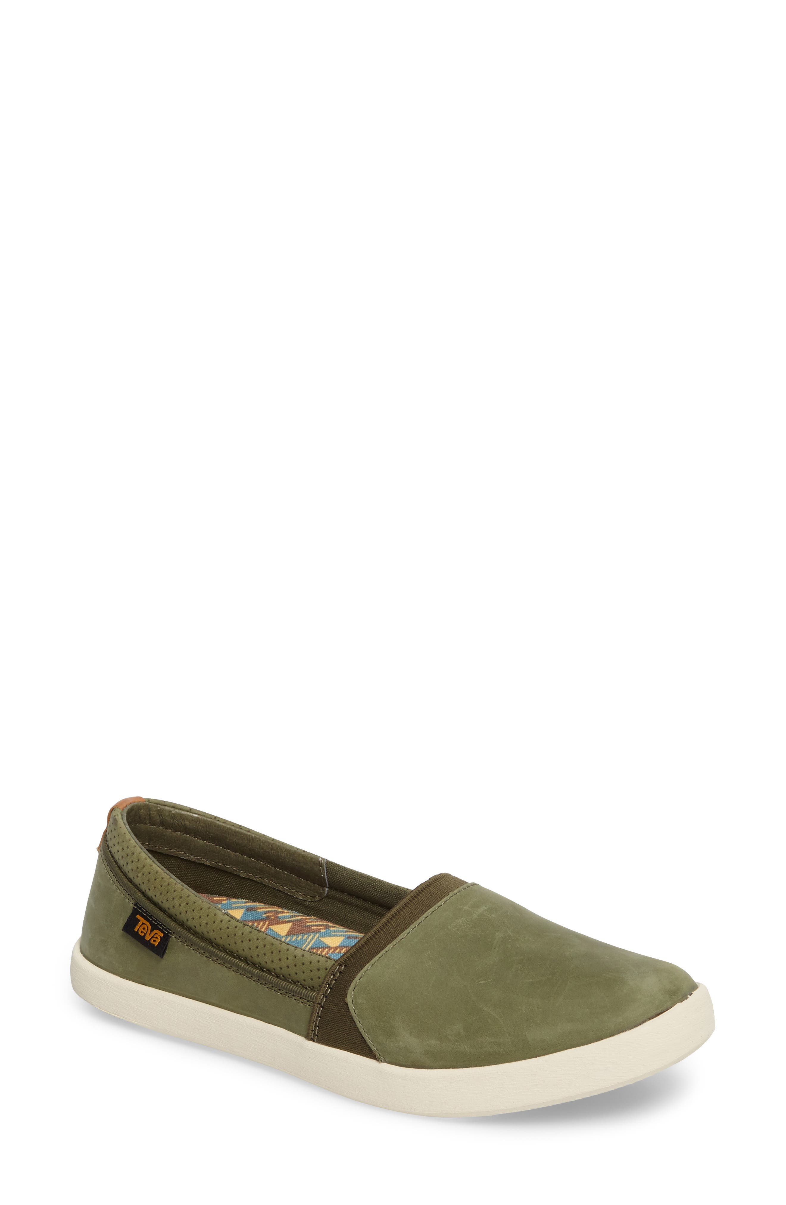 Willow Slip-On Sneaker,                             Main thumbnail 1, color,                             Olive Leather