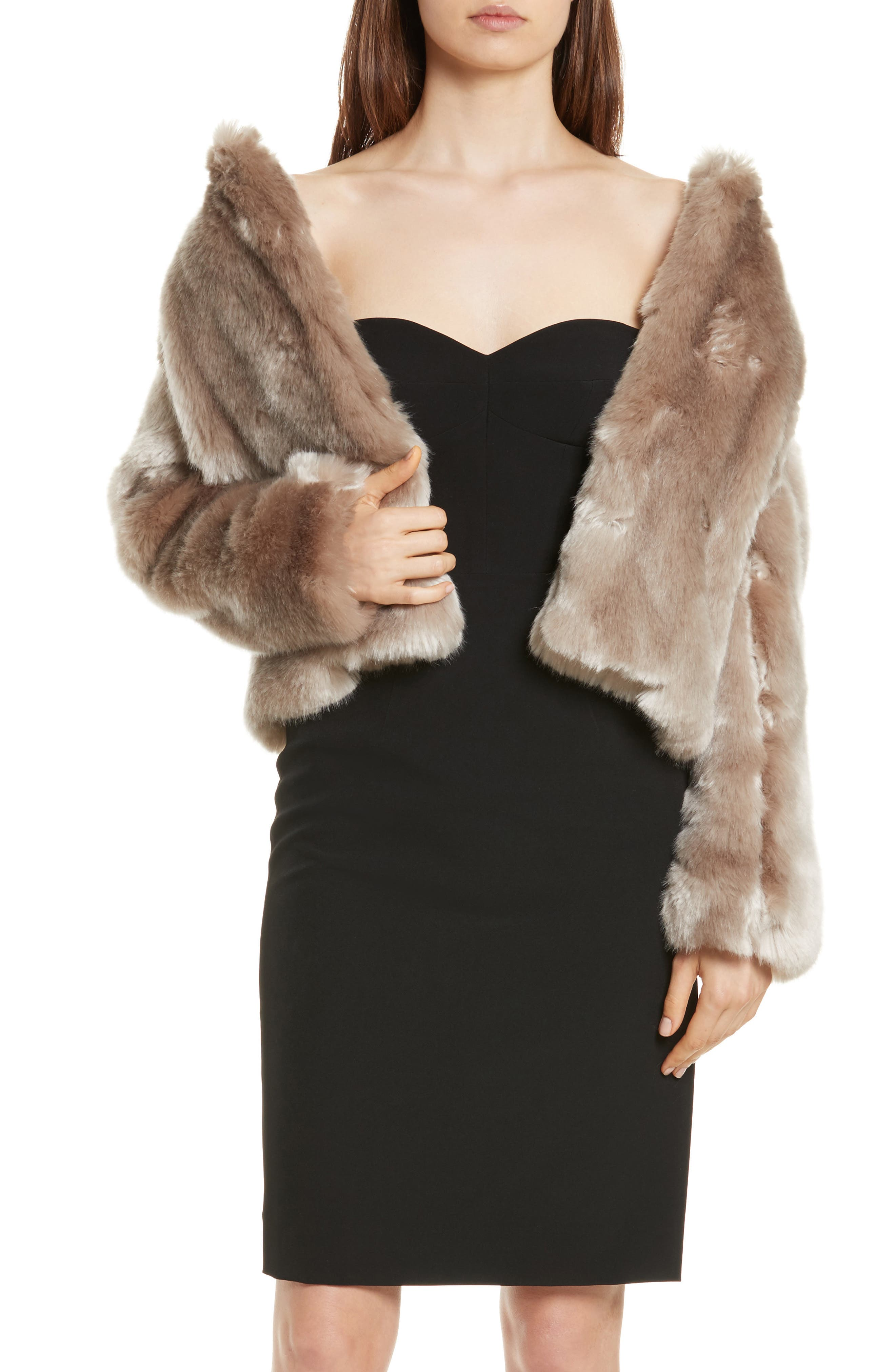 Faux Fur Jacket,                             Alternate thumbnail 4, color,                             Mink