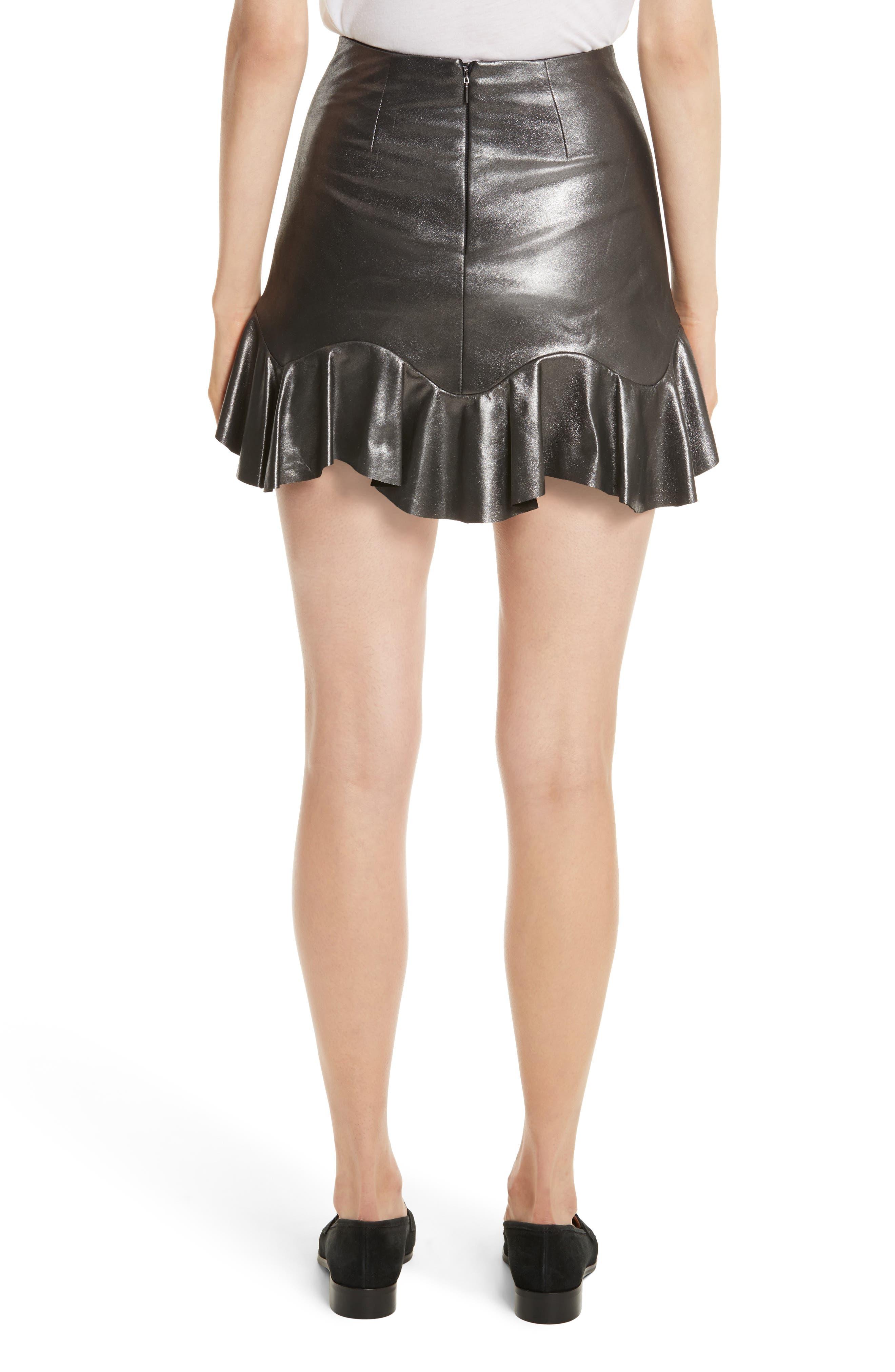 Alternate Image 2  - Rebecca Taylor Metallic Leather Miniskirt