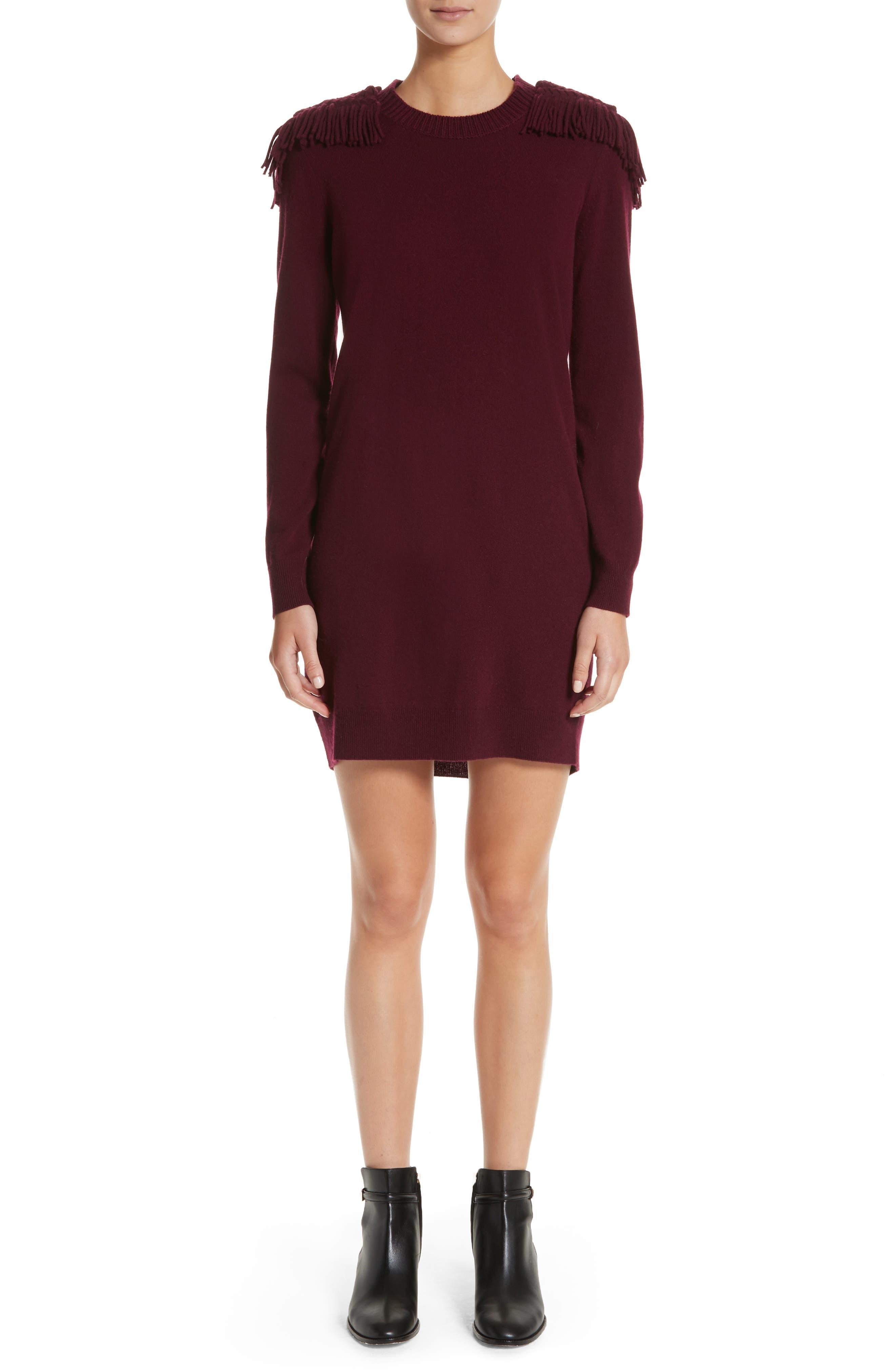 Neto Wool & Cashmere Fringe Sweater Dress,                         Main,                         color, Burgundy