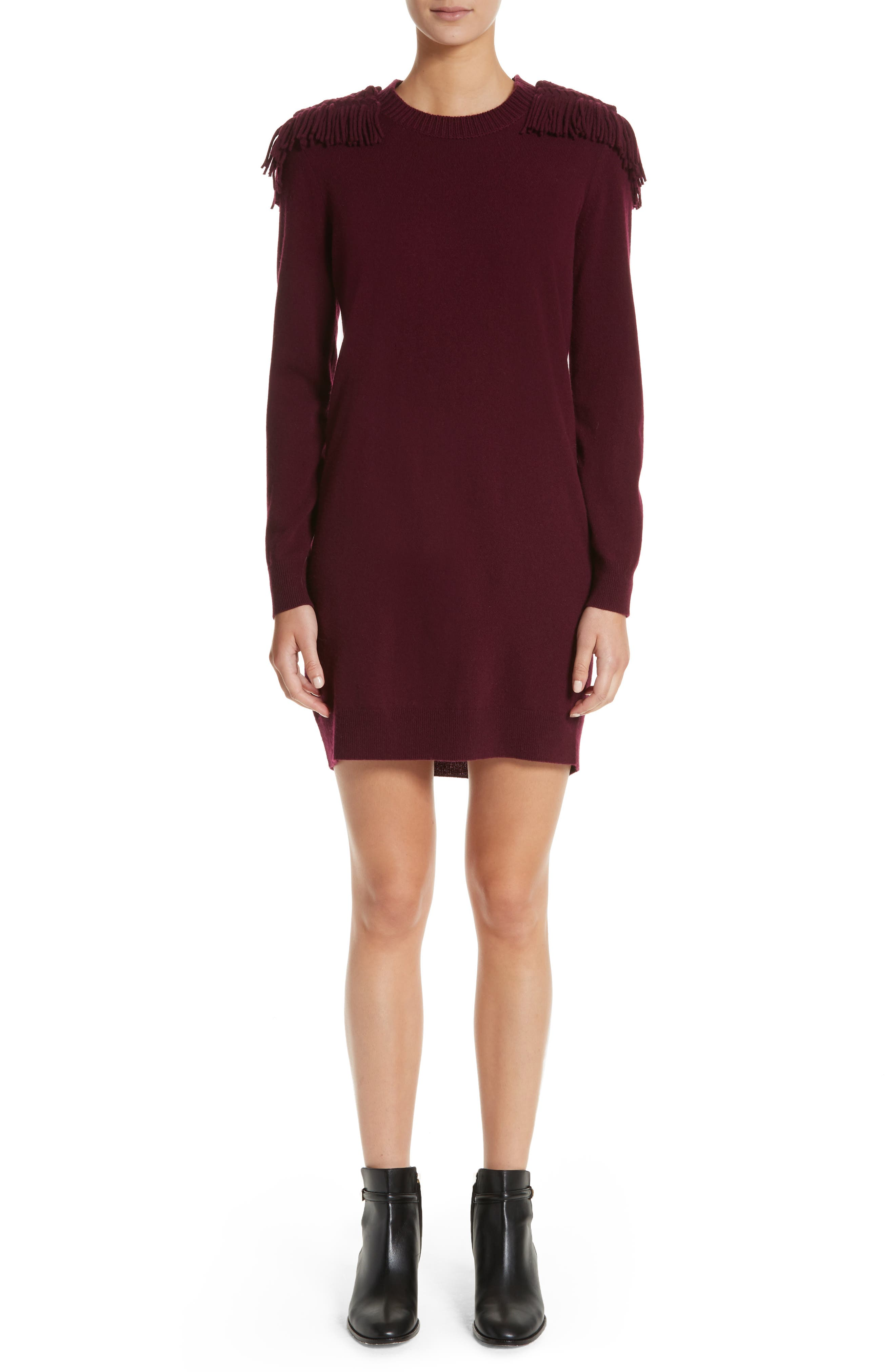 Neto Wool & Cashmere Fringe Sweater Dress,                         Main,                         color, Burgundy