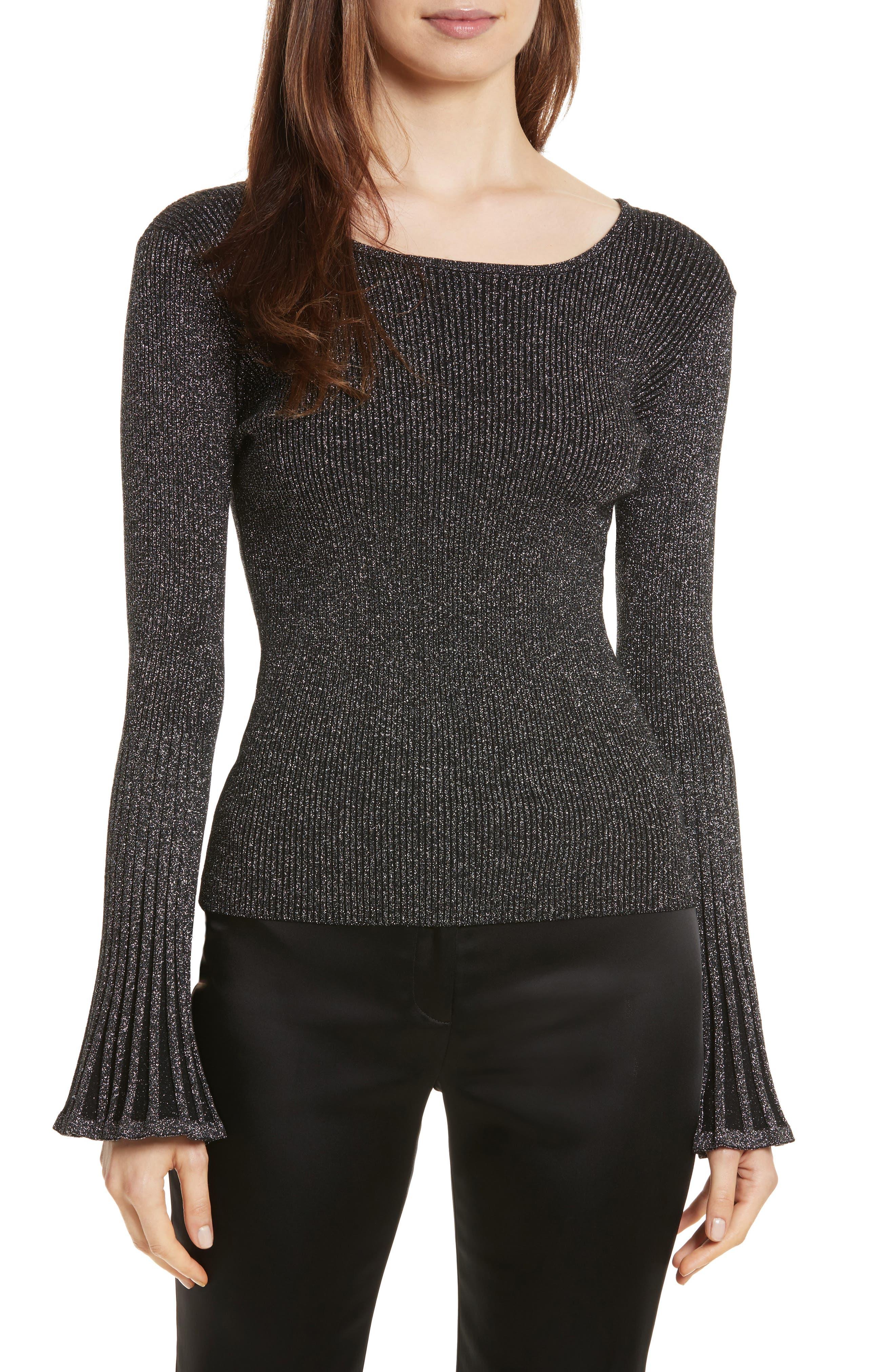Bell Sleeve Ribbed Metallic Sweater,                         Main,                         color, Gunmetal