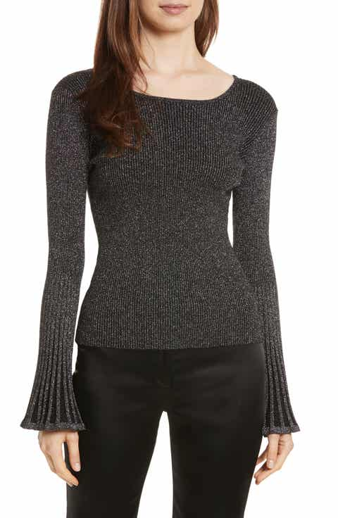 Milly Bell Sleeve Ribbed Metallic Sweater