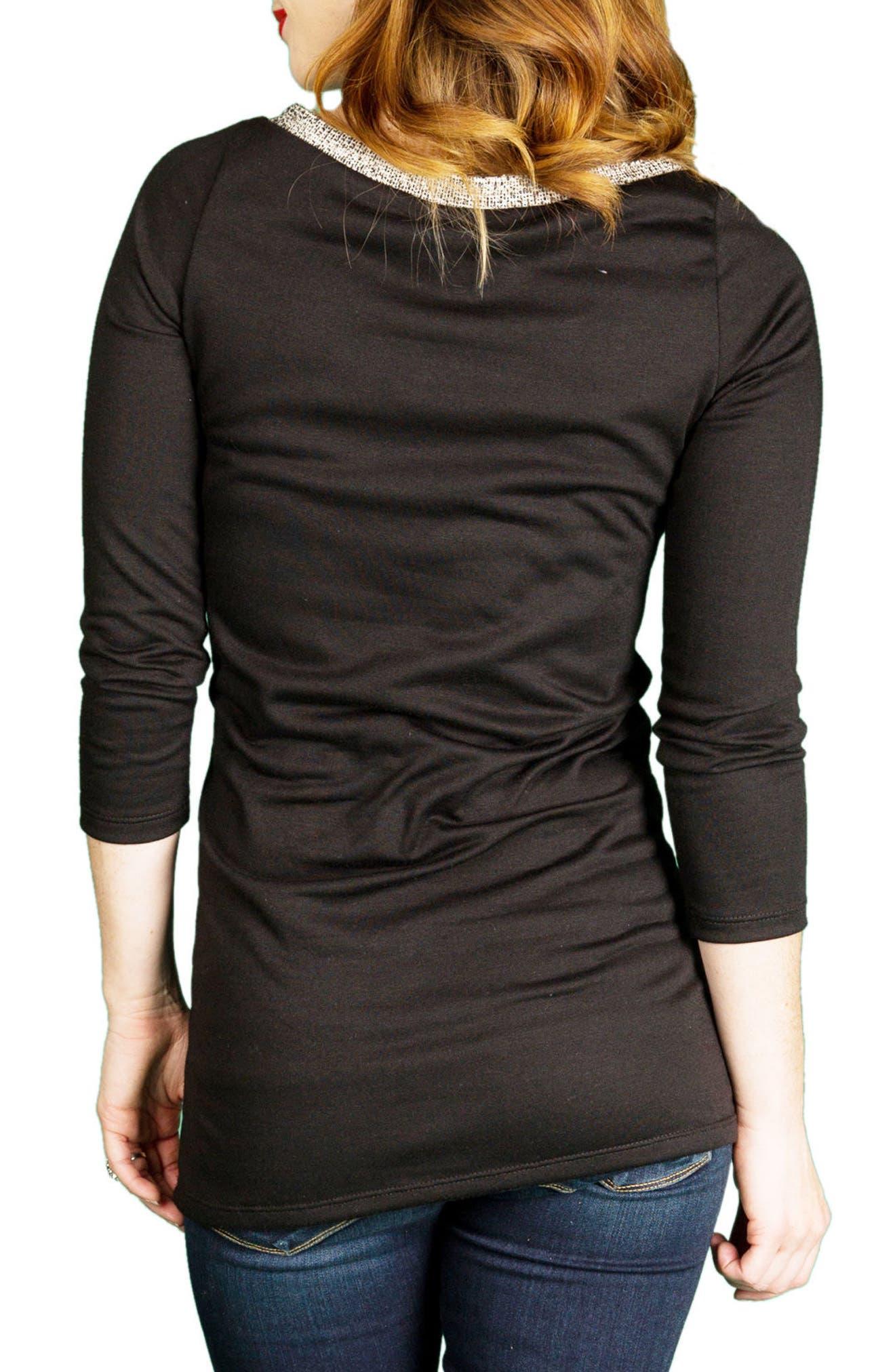 'Isla' Colorblock Maternity Tunic,                             Alternate thumbnail 2, color,                             Black Tweed