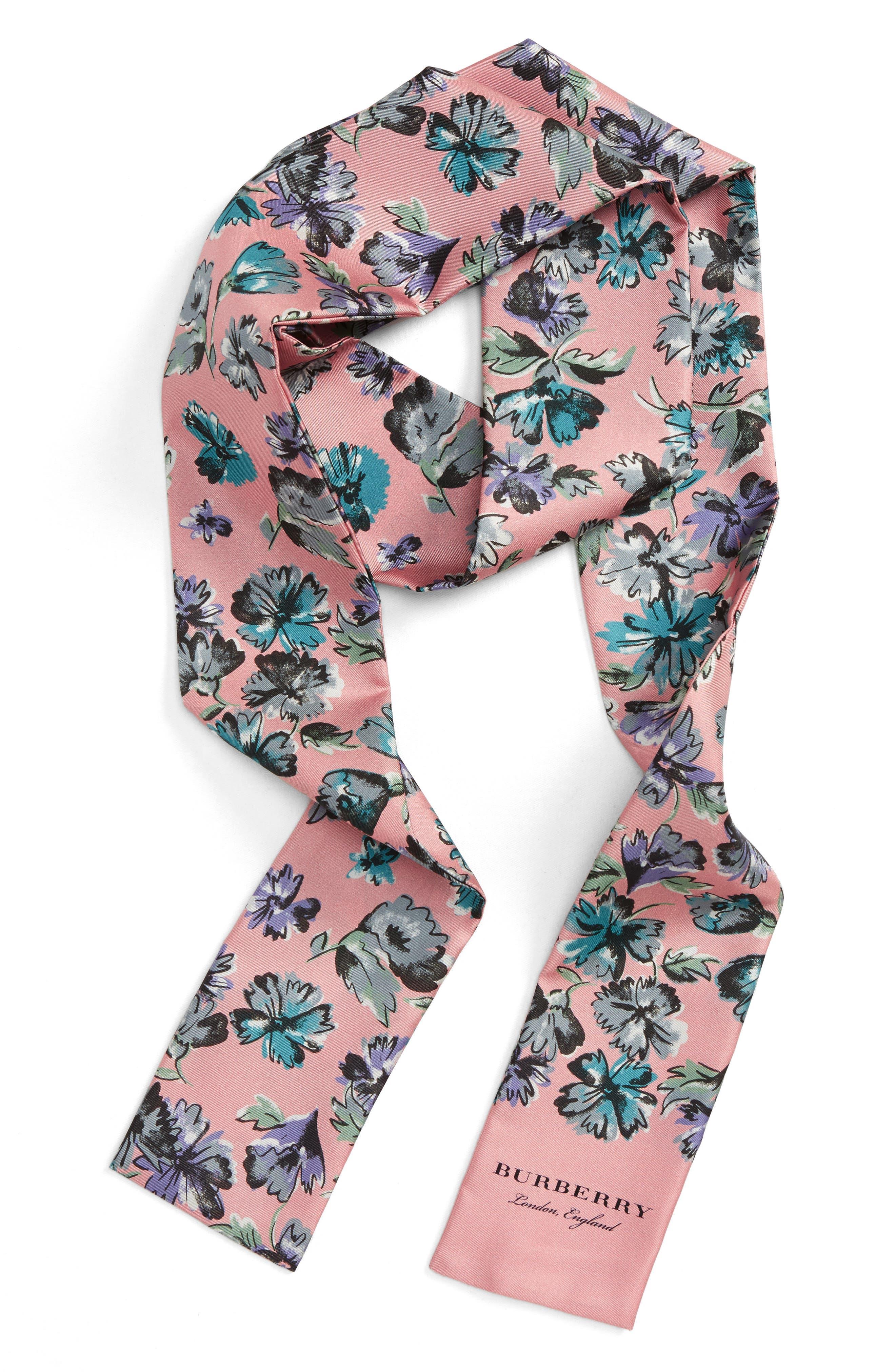 Scatter Floral Silk Skinny Scarf,                         Main,                         color, Rose Pink
