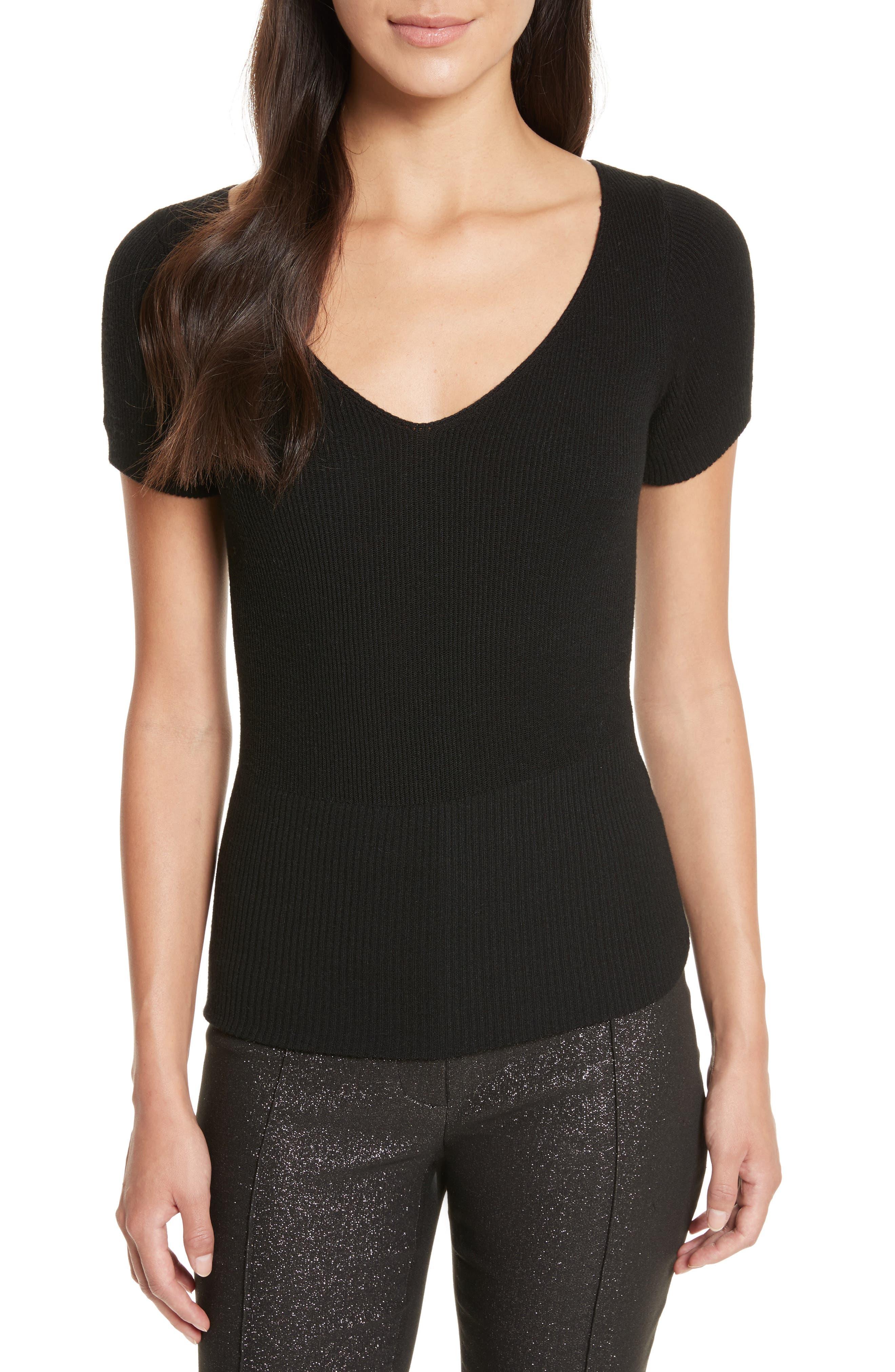 Décolletage Sweater,                         Main,                         color, Black