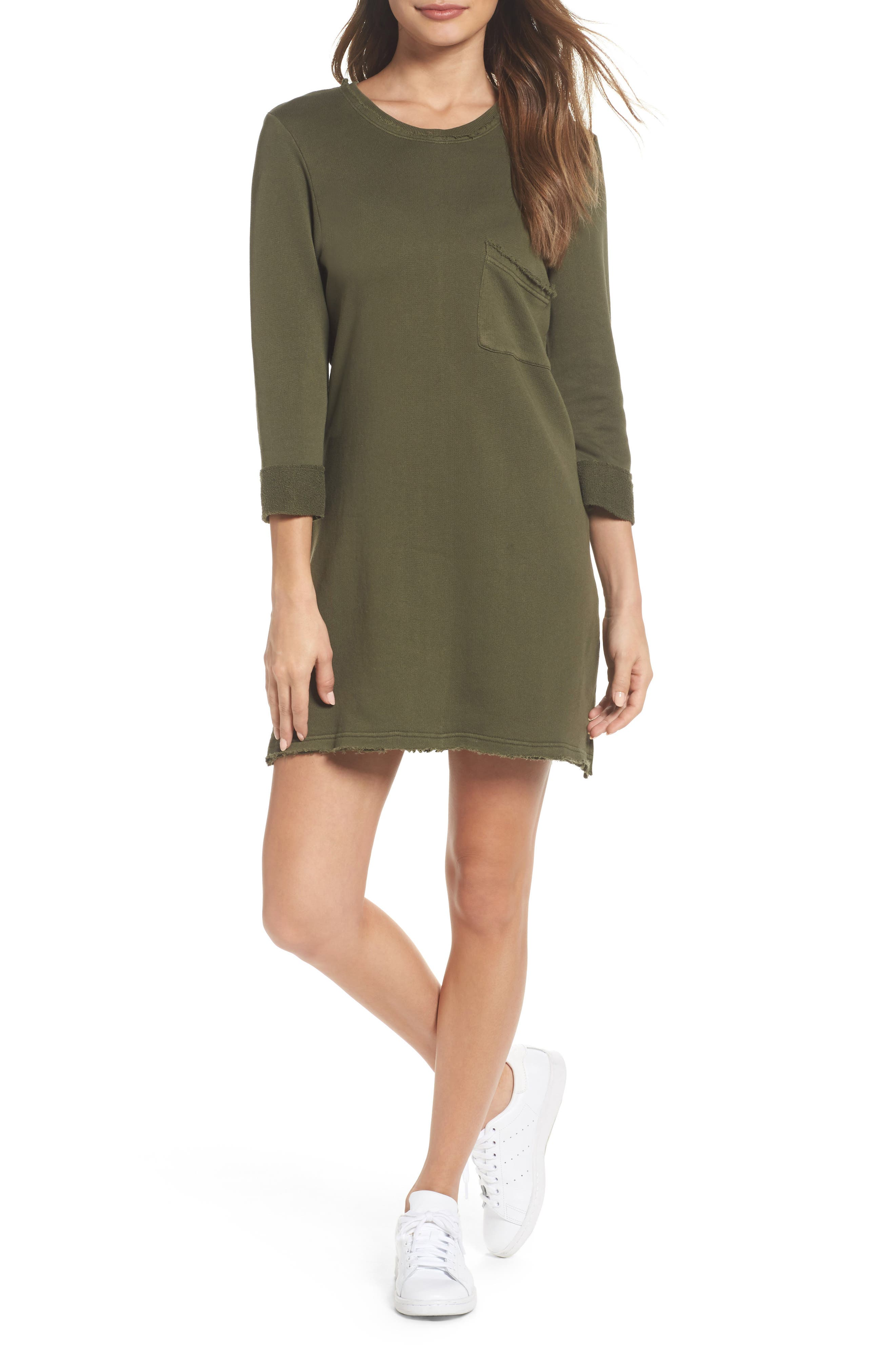 Chicago T-Shirt Dress,                             Main thumbnail 1, color,                             Military Green