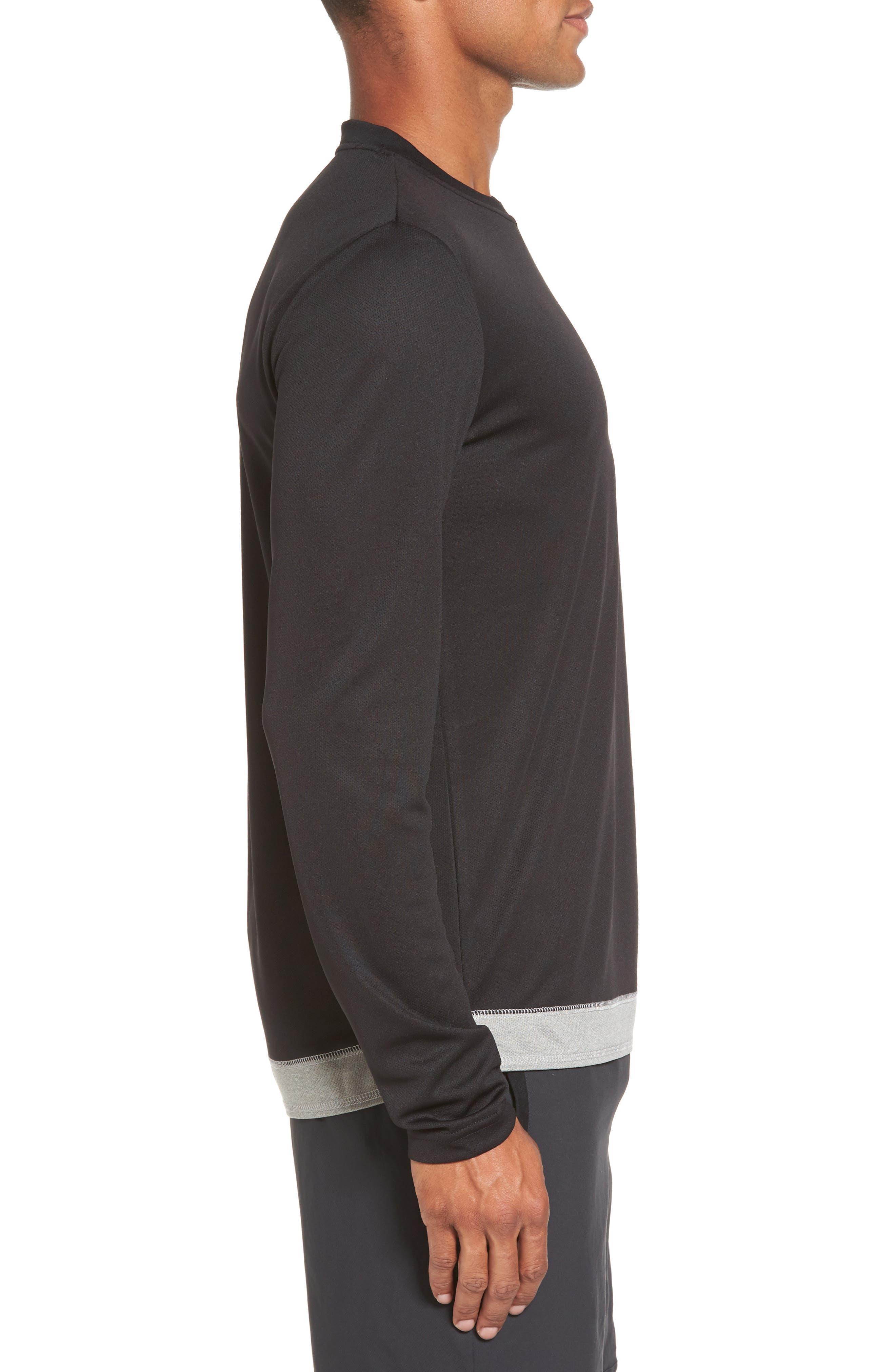 Runner Mesh Long Sleeve T-Shirt,                             Alternate thumbnail 3, color,                             Black