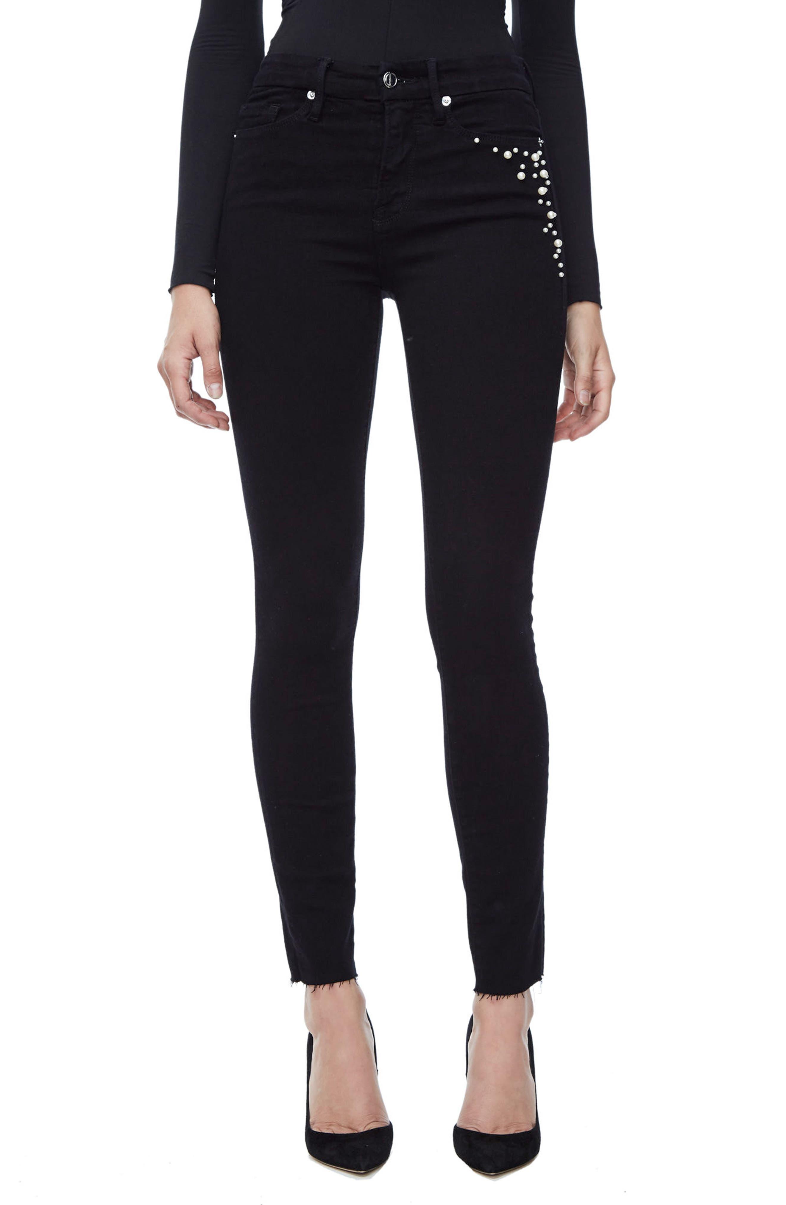 Good American Good Legs High Waist Ankle Skinny Jeans (Black 001) (Extended Sizes)