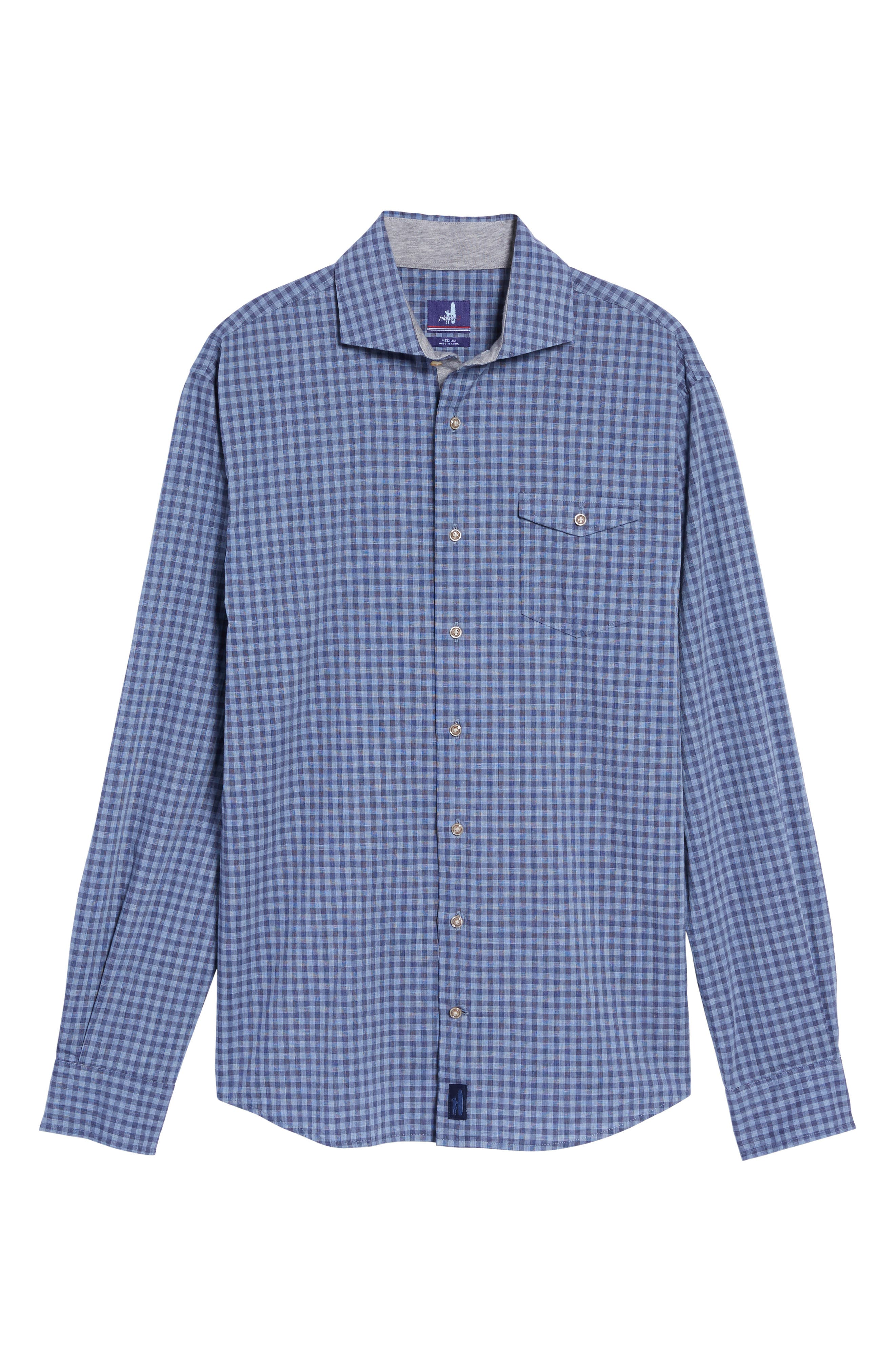 Red Rocks Check Sport Shirt,                             Alternate thumbnail 6, color,                             Abyss