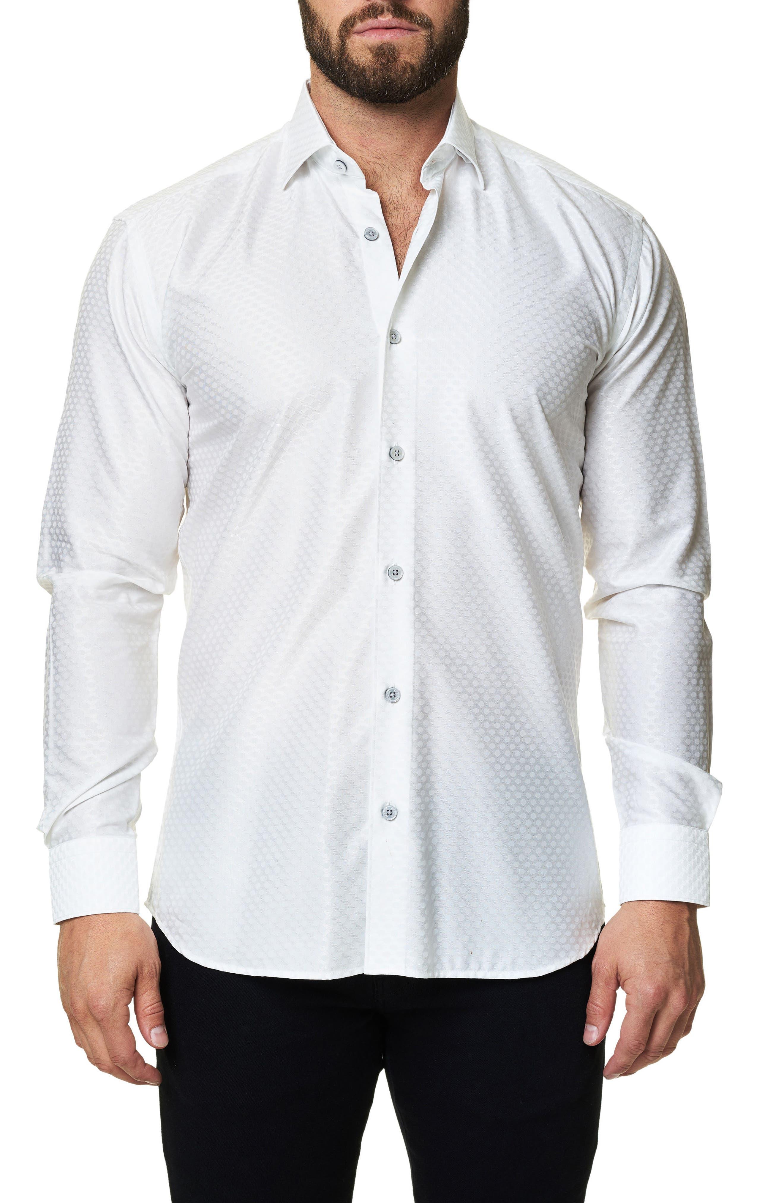 Alternate Image 3  - Maceoo Trim Fit Dot Print Sport Shirt