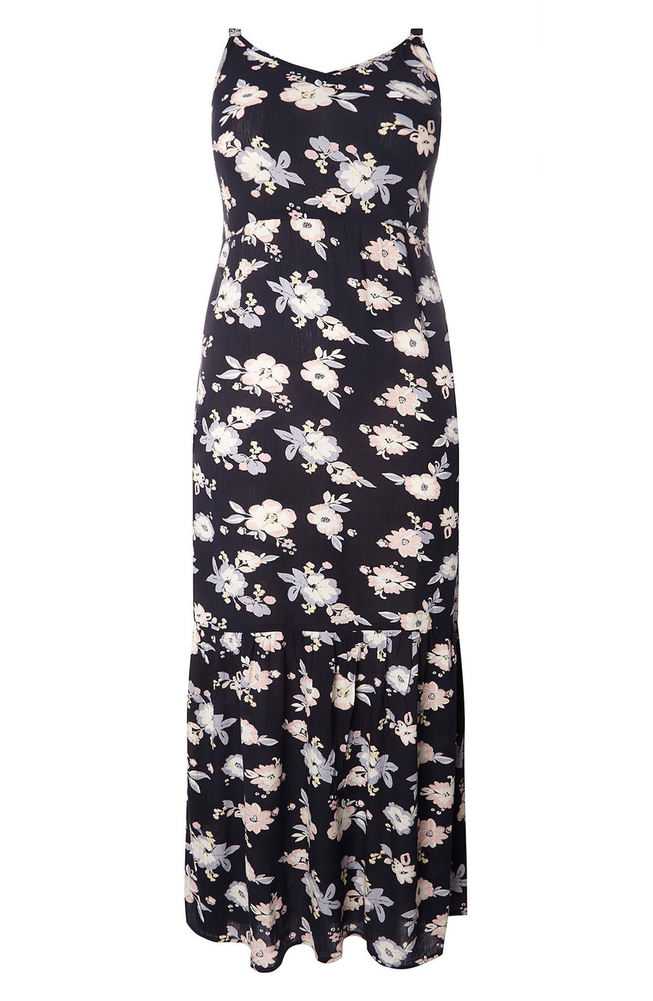 Evans Floral Ruffle Hem Maxi Sundress (Plus Size)