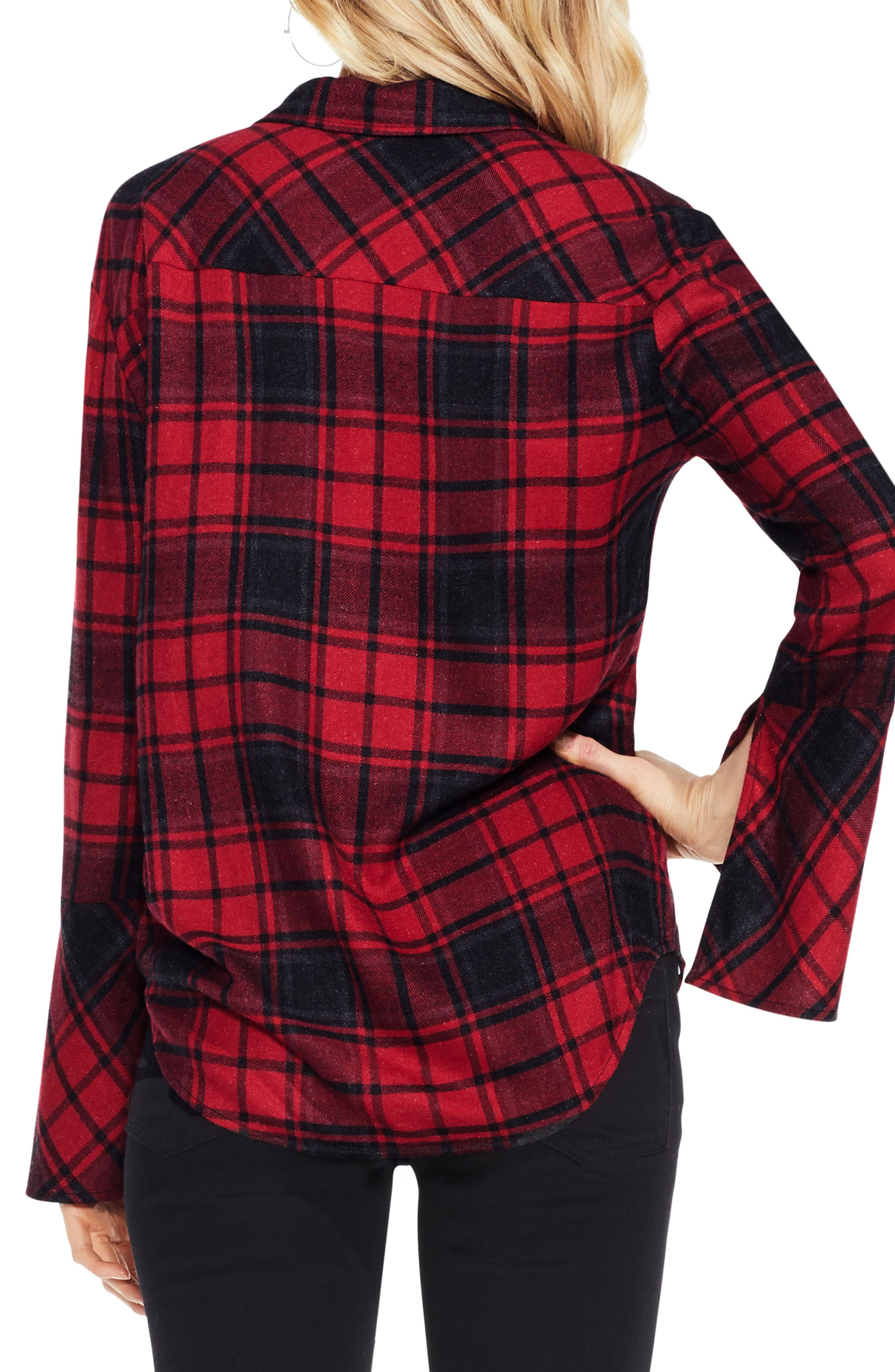 Stateside Bell Sleeve Shirt,                             Alternate thumbnail 3, color,                             Russet Red