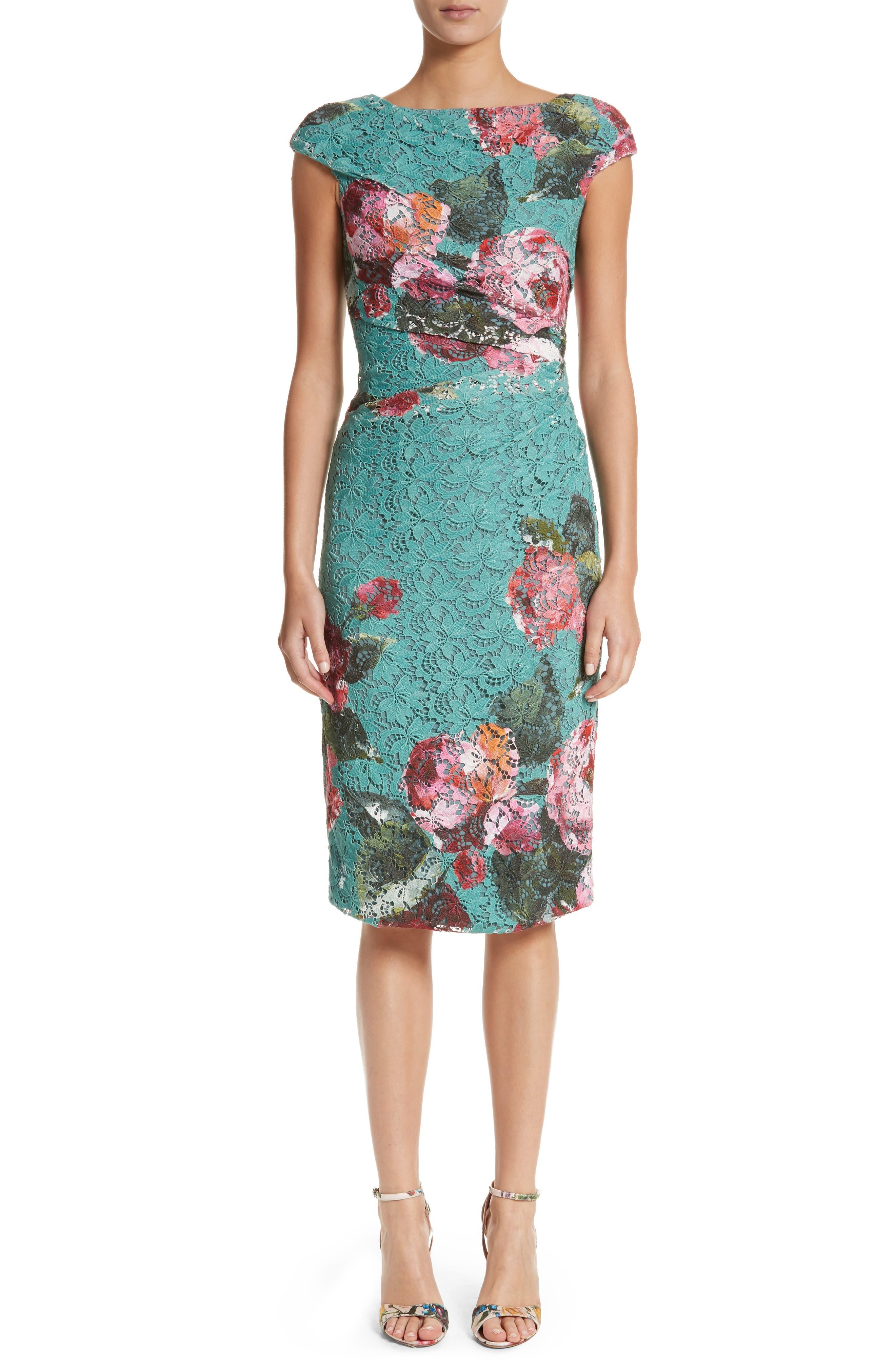 Main Image - Monique Lhuillier Rose Print Guipure Sheath Dress