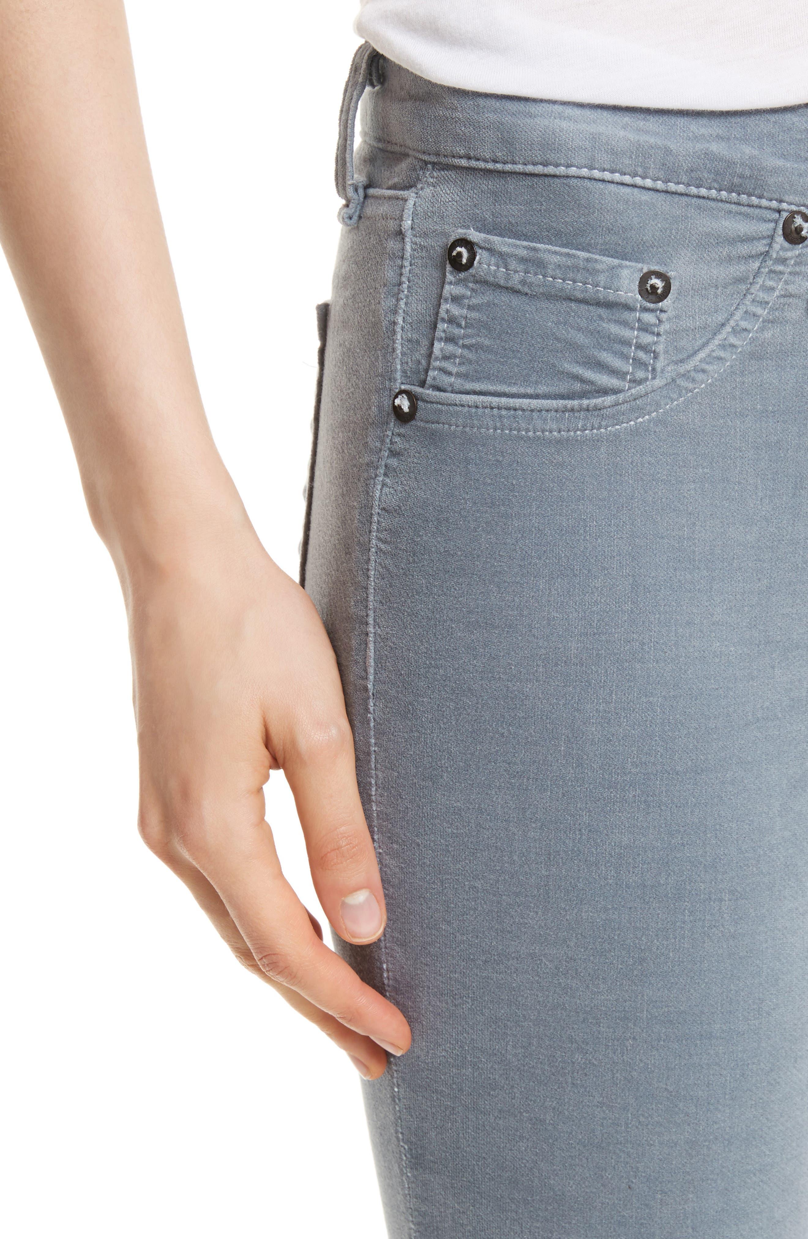 Velvet Skinny Jeans,                             Alternate thumbnail 4, color,                             Steel Blue Velvet