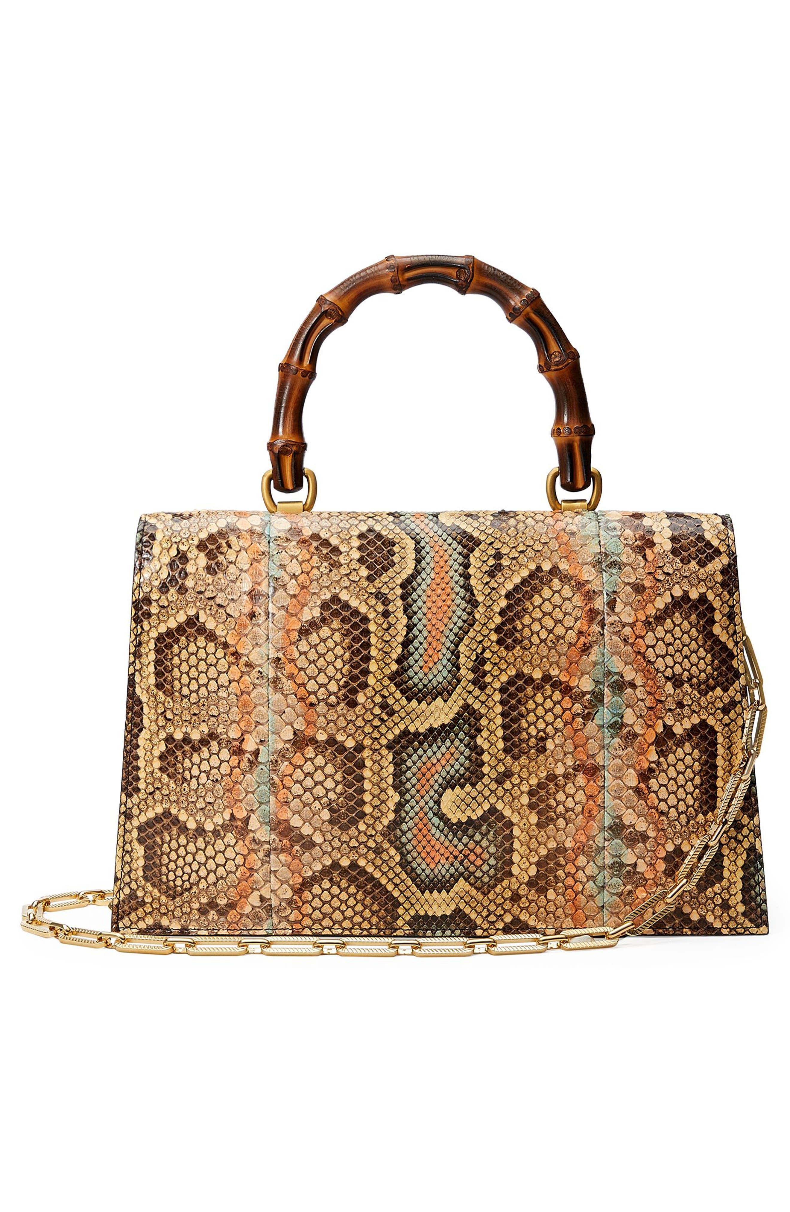 Linea P Painted Genuine Python Top Handle Satchel,                             Alternate thumbnail 2, color,                             Brown Multi