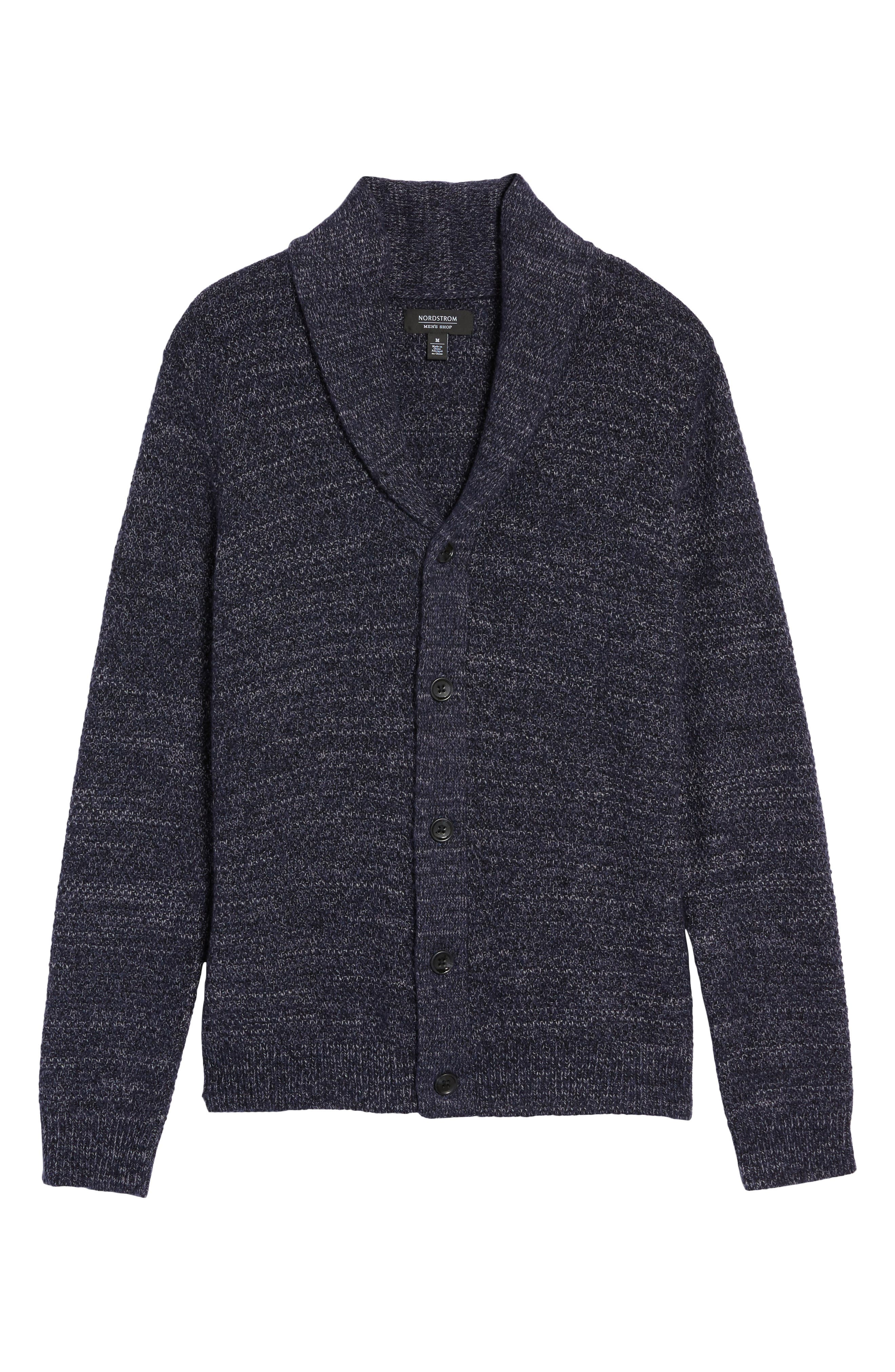 Shawl Collar Cardigan,                             Alternate thumbnail 6, color,                             Navy Iris Combo